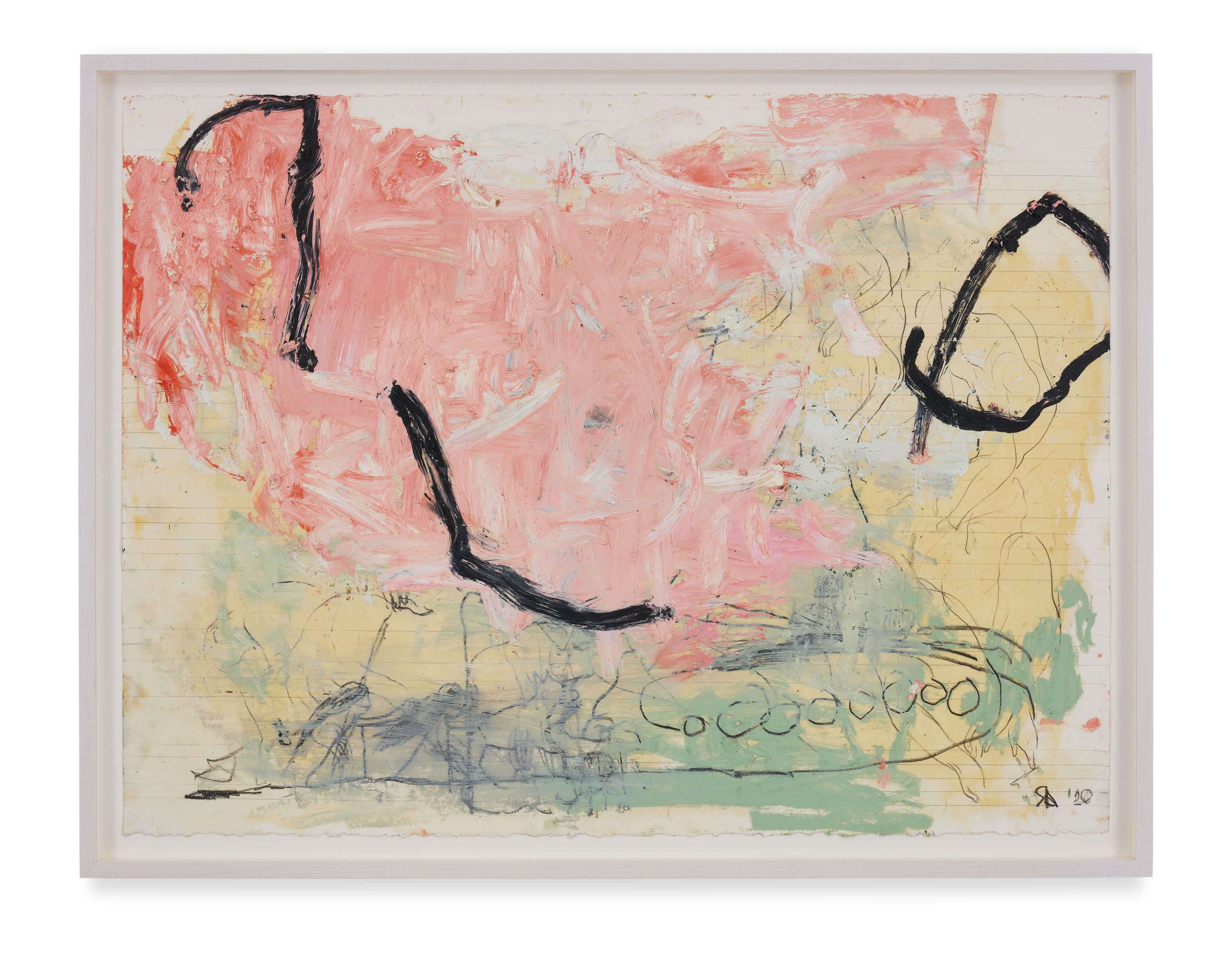 Rita Ackermann / Mama Study 3 / 2020 / Oil and China marker on paper / 55.9 x 76.2 cm / 22 x 30 in / Courtesy the artist and Hauser & Wirth. Photo: Jon Etter