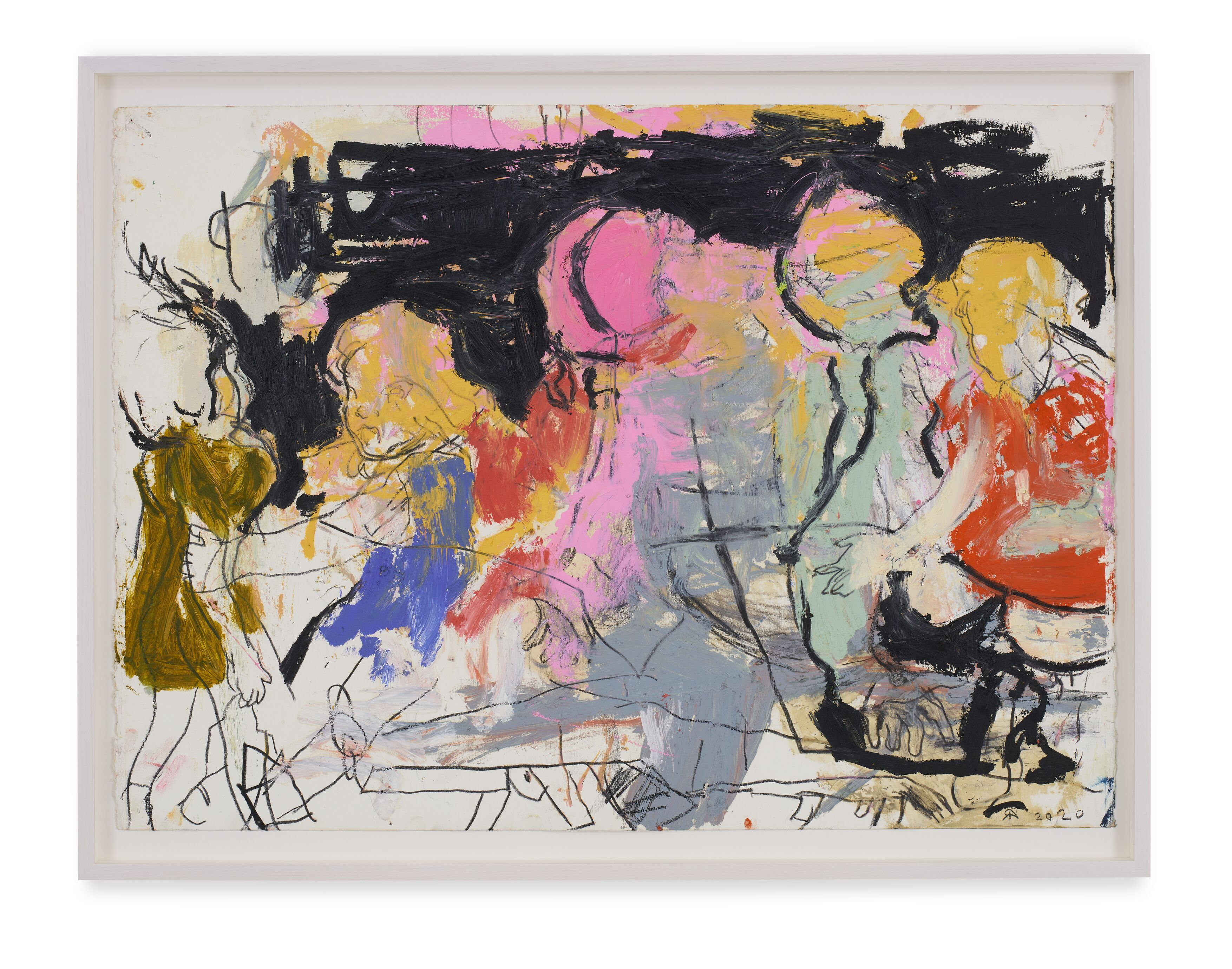 Rita Ackermann / Mama Study 8 / 2020 / Oil and China marker on paper / 55.9 x 76.2 cm / 22 x 30 in / Courtesy the artist and Hauser & Wirth. Photo: Jon Etter