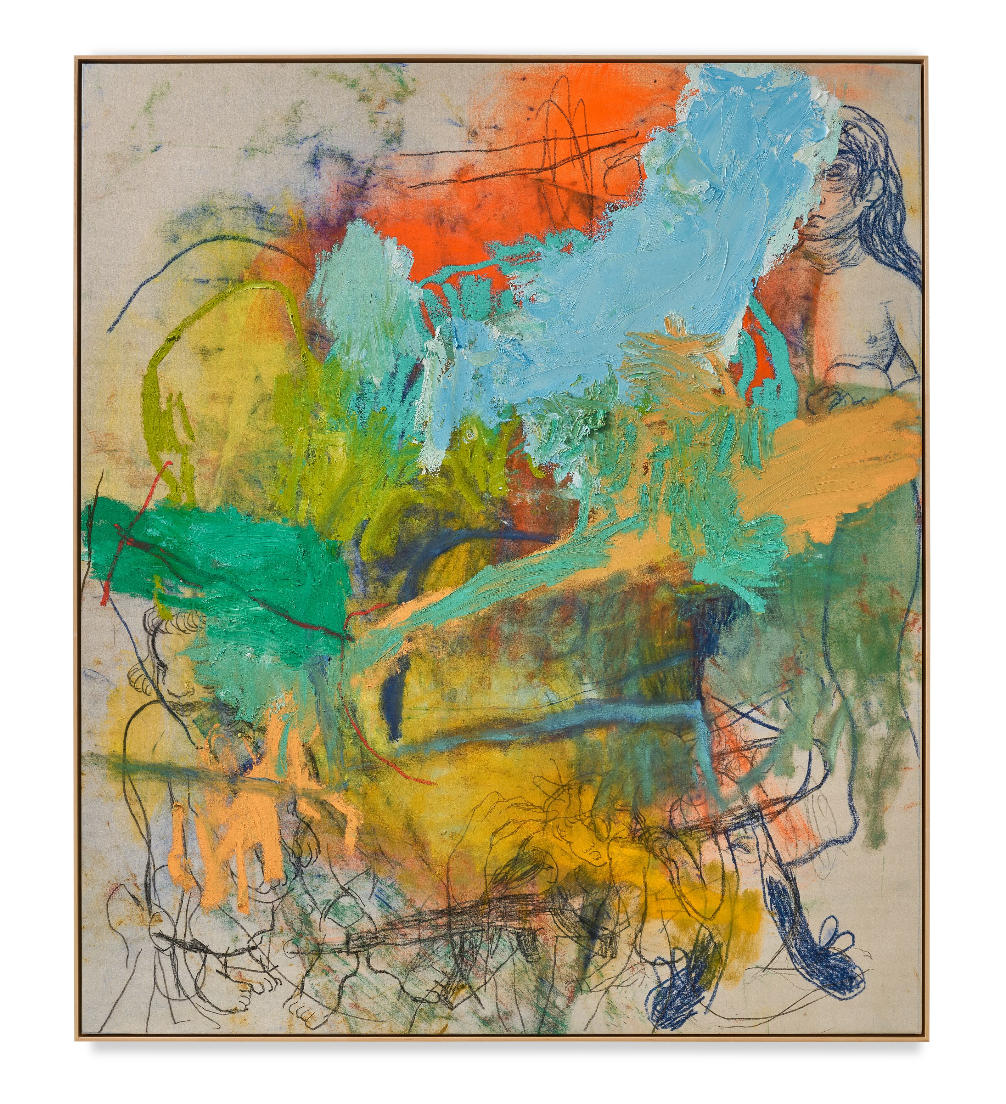 Rita Ackermann / Mama, The Best Is Always Yet to Come / 2020 / Oil, acrylic and china marker on canvas / 190.5 x 165.1 cm / 75 x 65 in / Courtesy the artist and Hauser & Wirth. Photo: Jon Etter