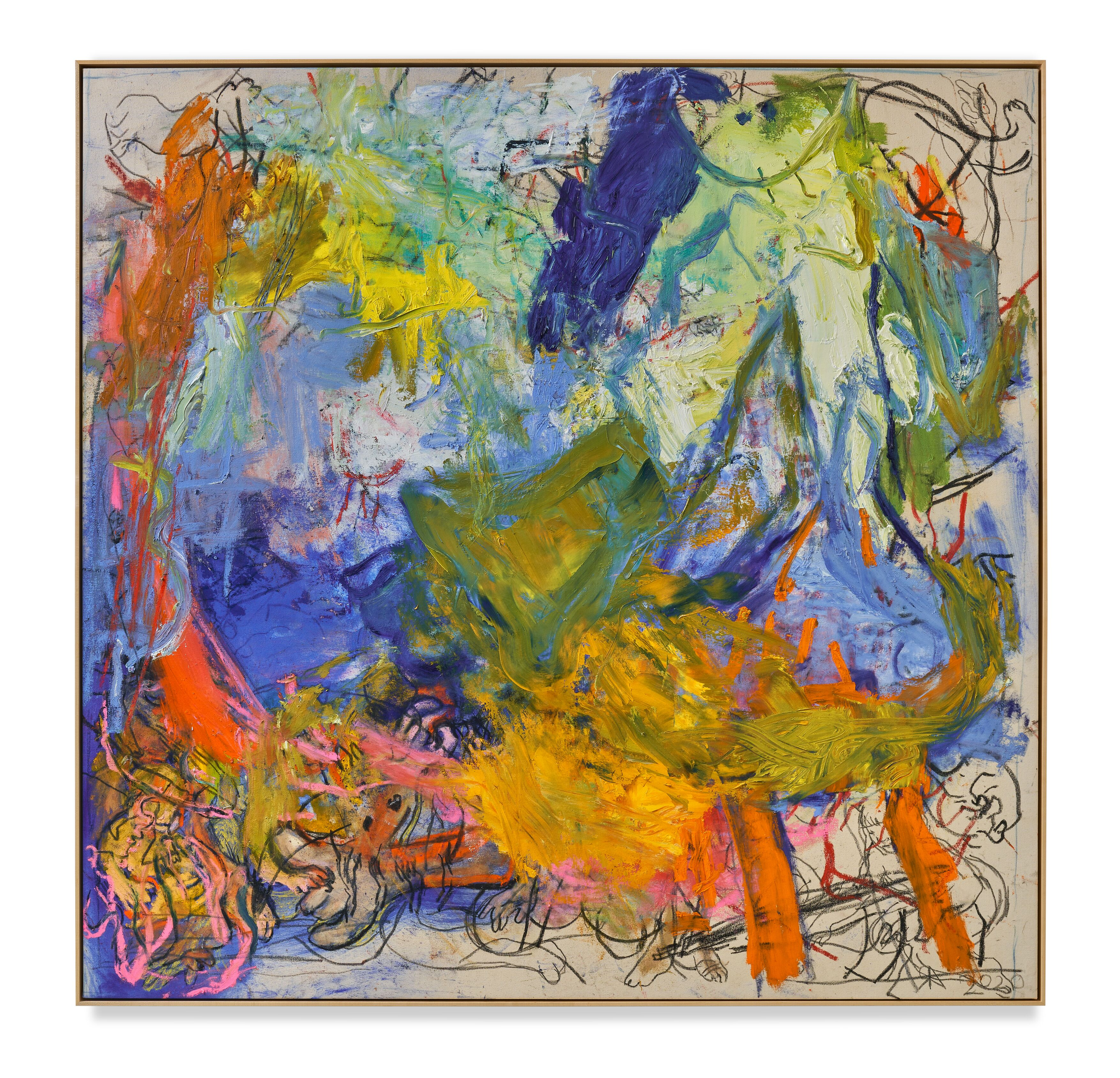 Rita Ackermann / Mama, Skirt on Fire / 2020 / Oil, acrylic, pigment, and china marker on canvas / 193 x 190.5 cm / 76 x 75 in / Courtesy the artist and Hauser & Wirth. Photo: Jon Etter