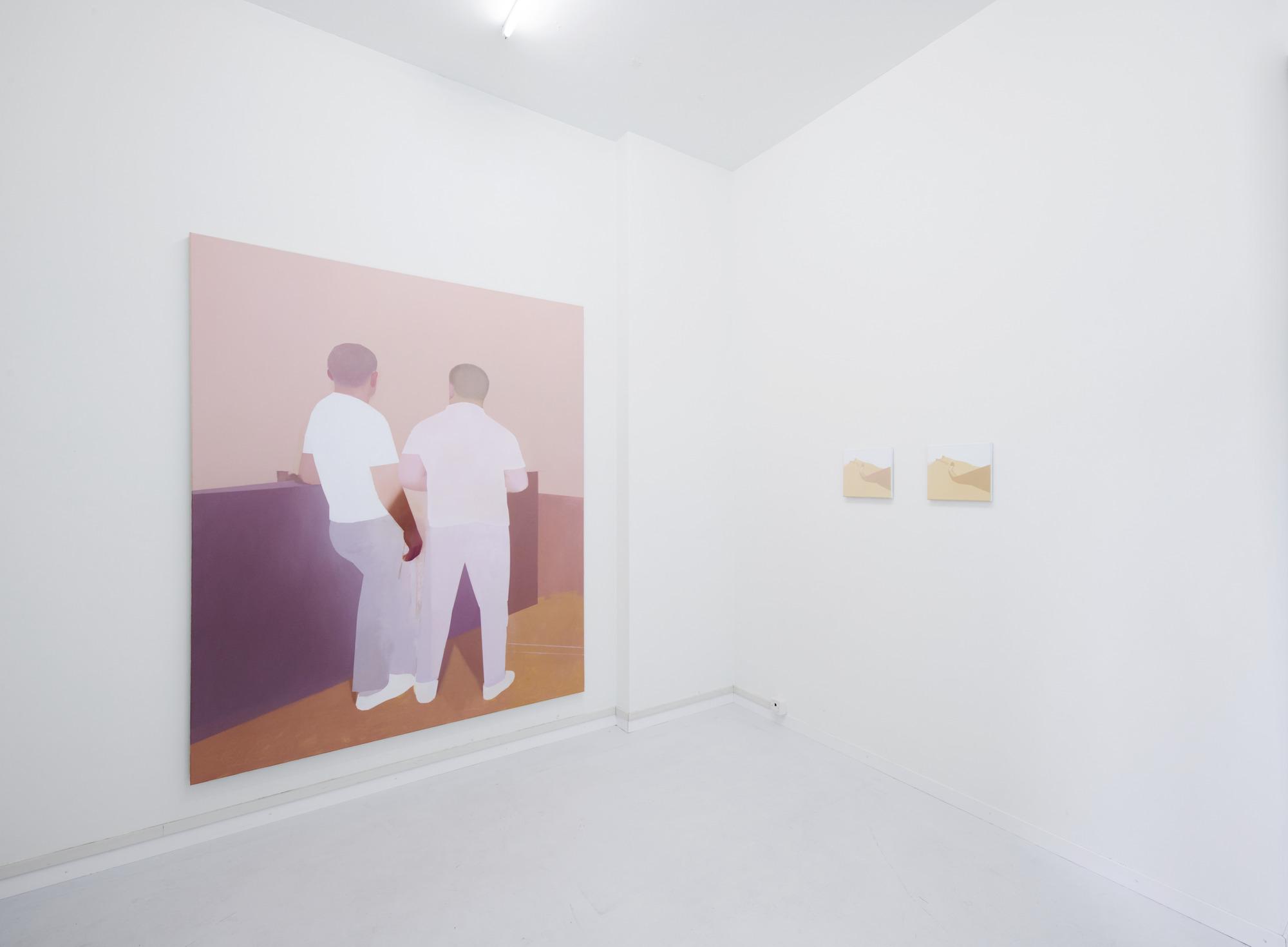 Manuel Stehli untitled, 2019, 220×170 cm, oil on canvas & untitled (Mauer I, Mauer II), 2020, 2×24×28 cm, oil on canvas, Courtesy of the artist and Lemoyne
