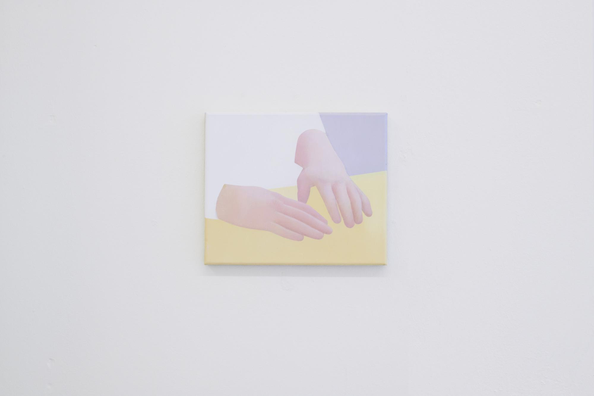 Manuel Stehli untitled (Händepaar II), 2020, 24×28 cm, oil on canvas, Courtesy of the artist and Lemoyne
