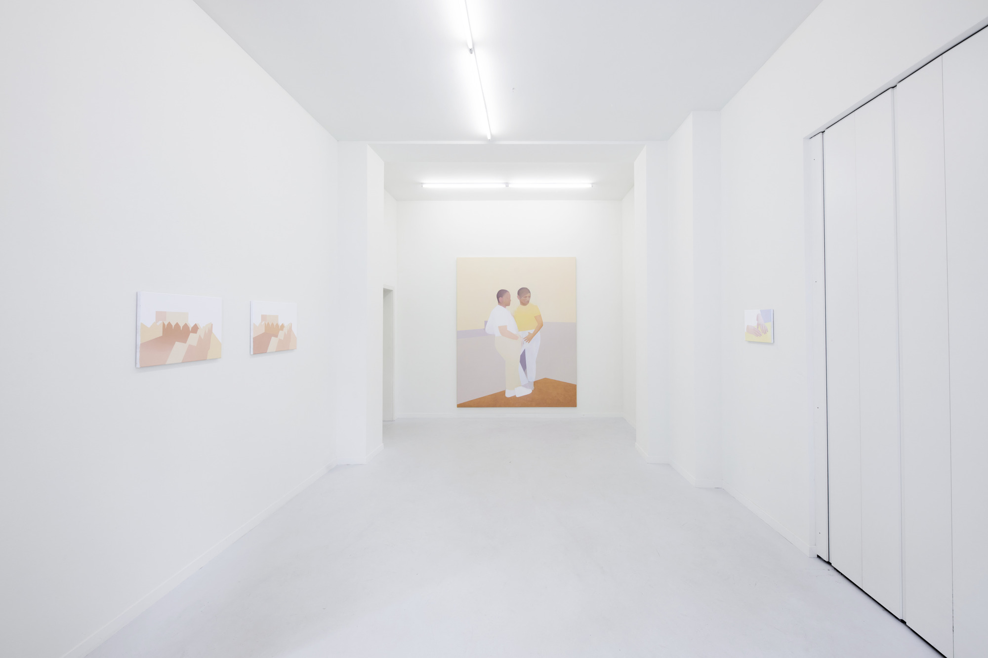 Manuel Stehli untitled (Mauer I, Mauer II), 2020, 2×24×28 cm, oil on canvas & untitled, 2020, 240×190 cm, oil on canvas & untitled (Händepaar II), 2020, 24×28 cm, oil on canvas, Courtesy of the artist and Lemoyne