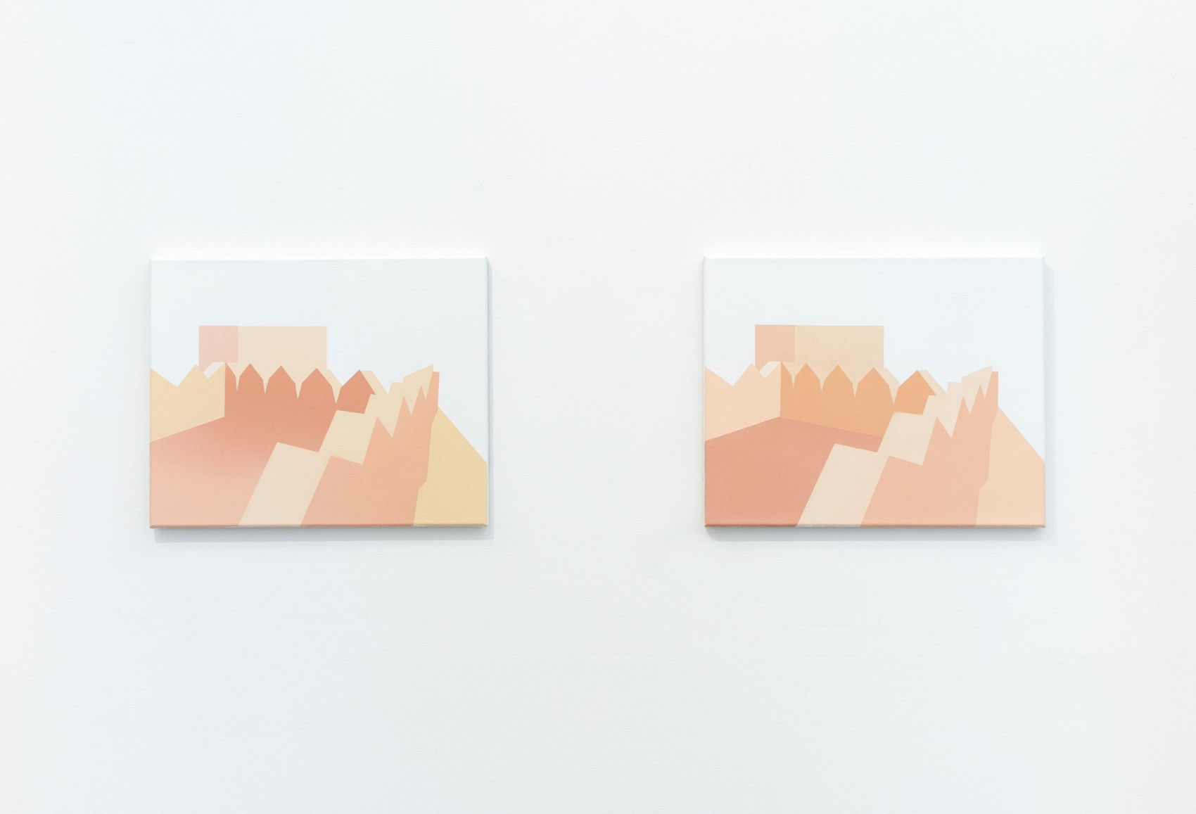 Manuel Stehli untitled (Festung I, Festung II), 2019, 2×40×50 cm, oil on canvas, Courtesy of the artist and Lemoyne