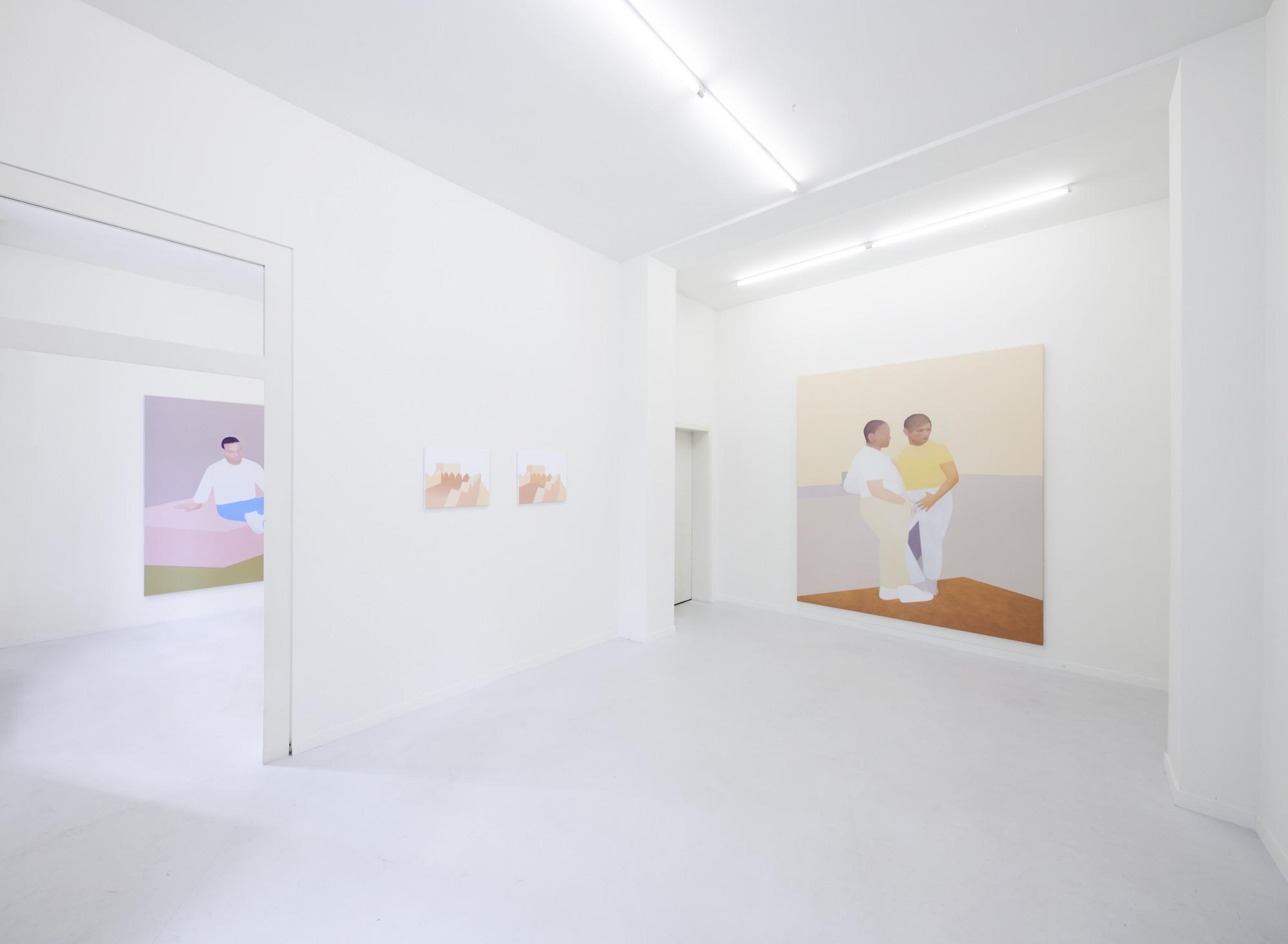 Manuel Stehli untitled, 2020, 200×170 cm, oil on canvas & Manuel Stehli untitled (Festung I, Festung II) & untitled, 2020, 240×190 cm, oil on canvas, Courtesy of the artist and Lemoyne