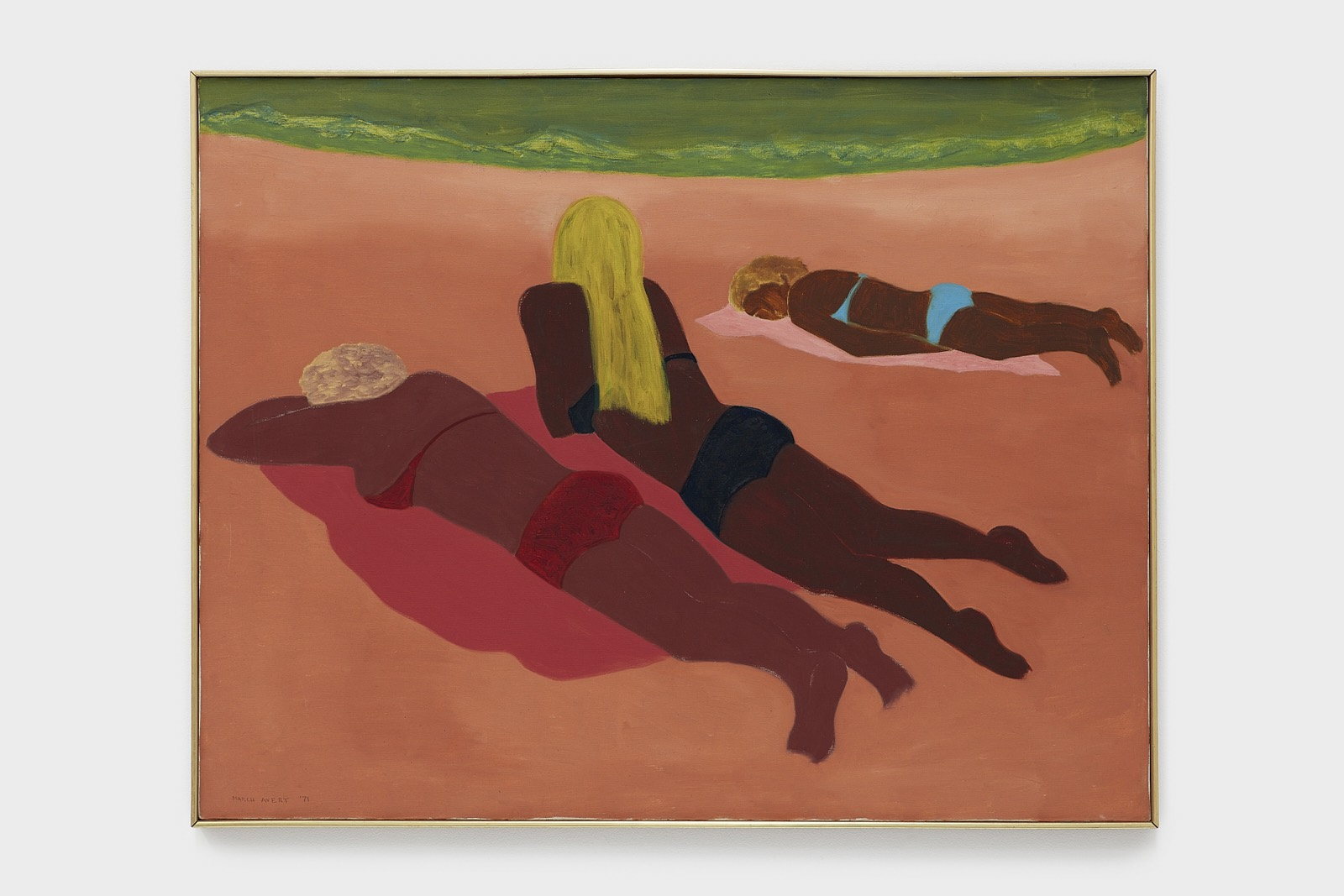 March Avery Sun Worshippers , 1971 Oil on canvas 35 3/8 x 46 inches © March Avery, Courtesy of the artist and Blum & Poe, Los Angeles/New York/Tokyo