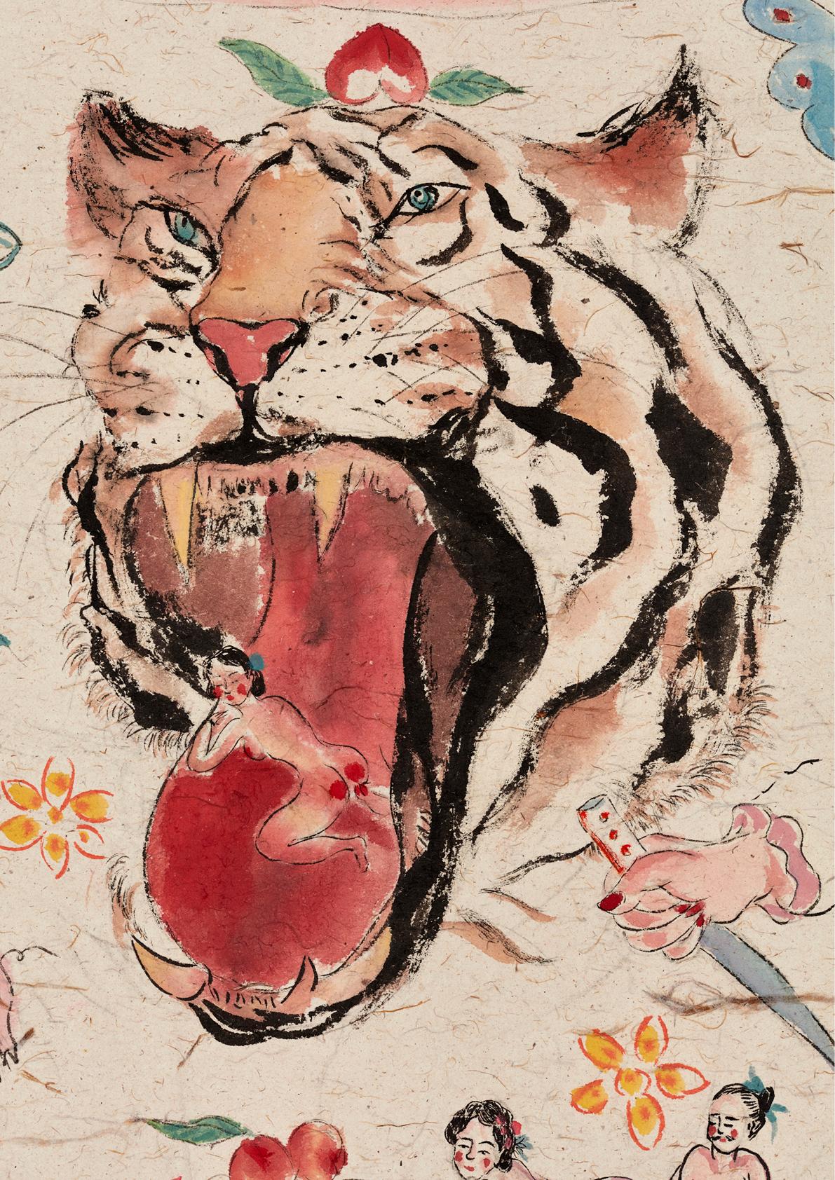 Shafei Xia, Best wishes, 2020, acquarello su carta di sandalo intelata/watercolor on sandal paper mounted on canvas, cm.130x120, Courtesy the artist & P420, Bologna (photo Carlo Favero)