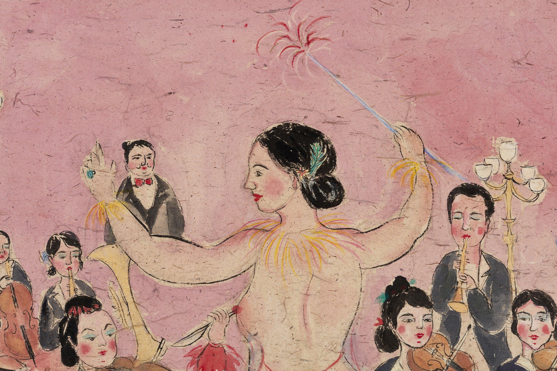 Shafei Xia, Welcome to my show, 2020, acquarello su carta di sandalo intelata/watercolor on sandal paper mounted on canvas, cm.95x145, particolare/detail, Courtesy the artist & P420, Bologna (photo Carlo Favero)