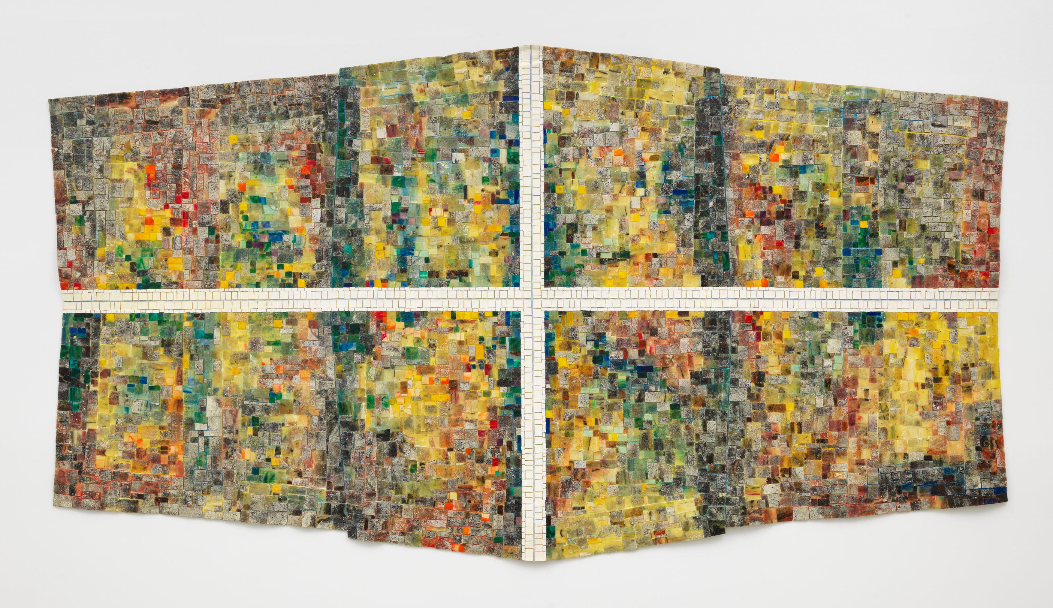 Mask III: For The Children of Dunblane, Scotland, 1996, Acrylic and recycled glass on canvas, 167.6 x 312.4 cm / 66 x 123 in
