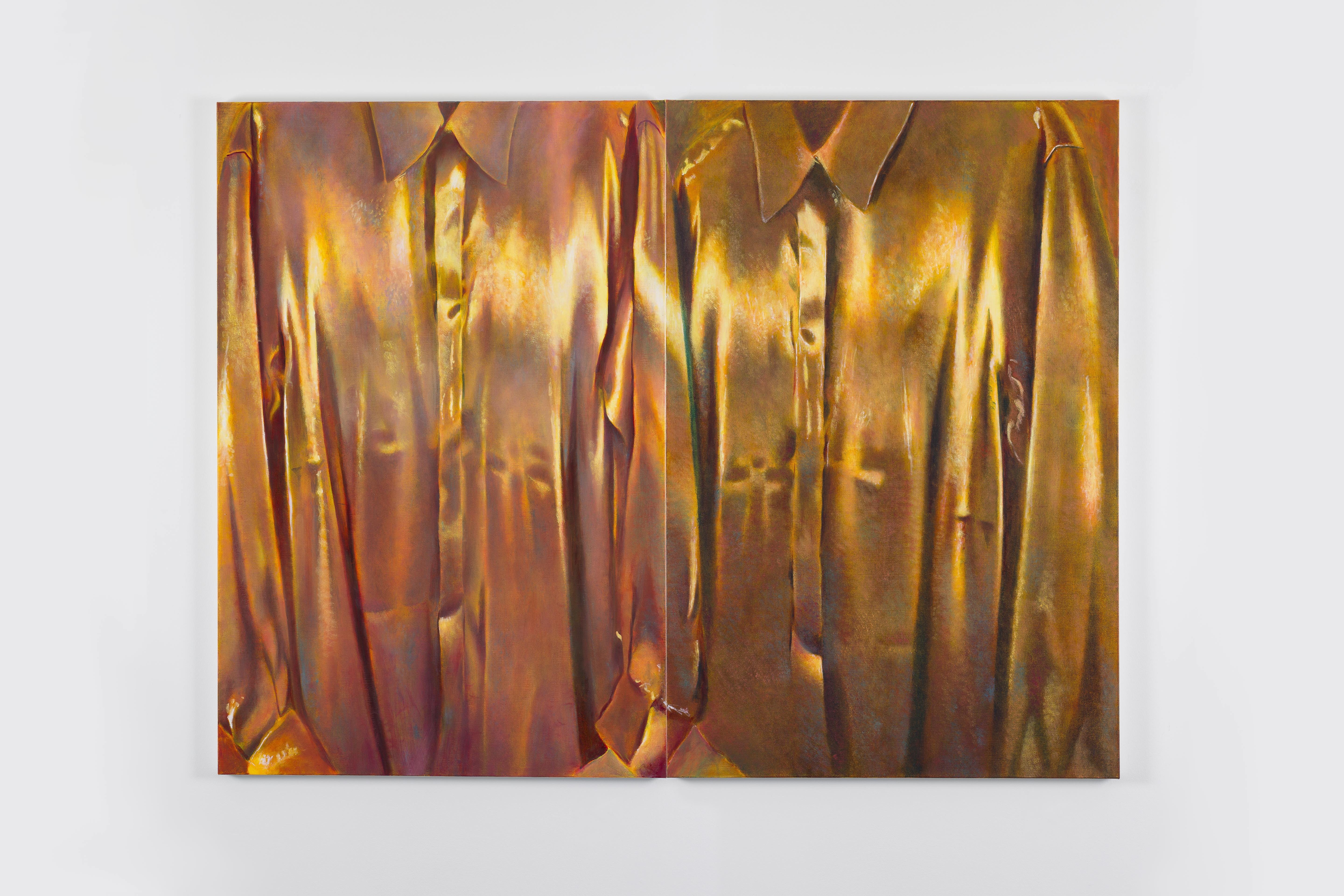 Wager, Louise Giovanelli, 2020, Oil on canvas, diptych, 120 x 160 x 3.5 cm | 47 1/4 x 63 x 1 3/8 in | Courtesy of the Artist and GRIMM Amsterdam | New York, ©The Artist, Photo: Sonia Mangiapane