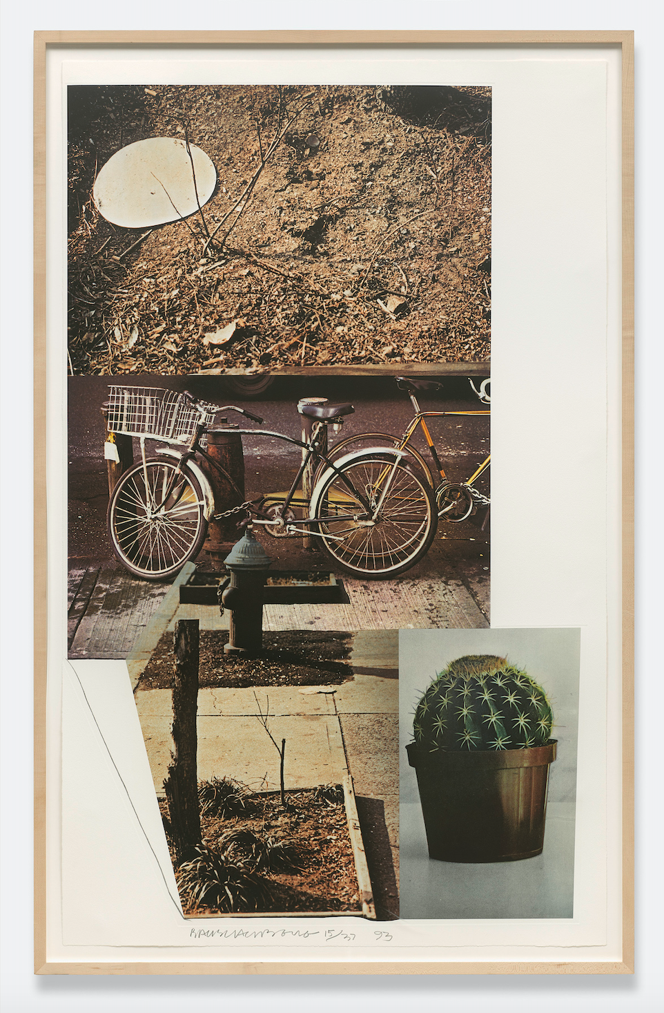 Street Sounds West, 1993, intaglio print in 8 colours with photogravure on paper, 143.5 x 88.3cm © Robert Rauschenberg Foundation licensed by DACS London.