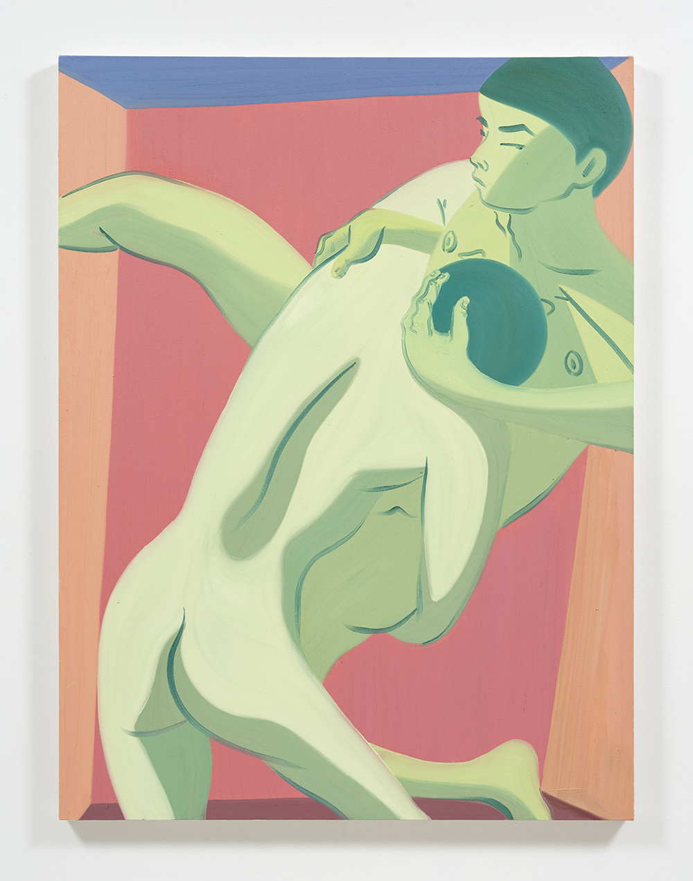 Mark Yang Hip Throw, 2019 Oil on canvas 60 x 45 inches (152.4 x 114.3 cm)