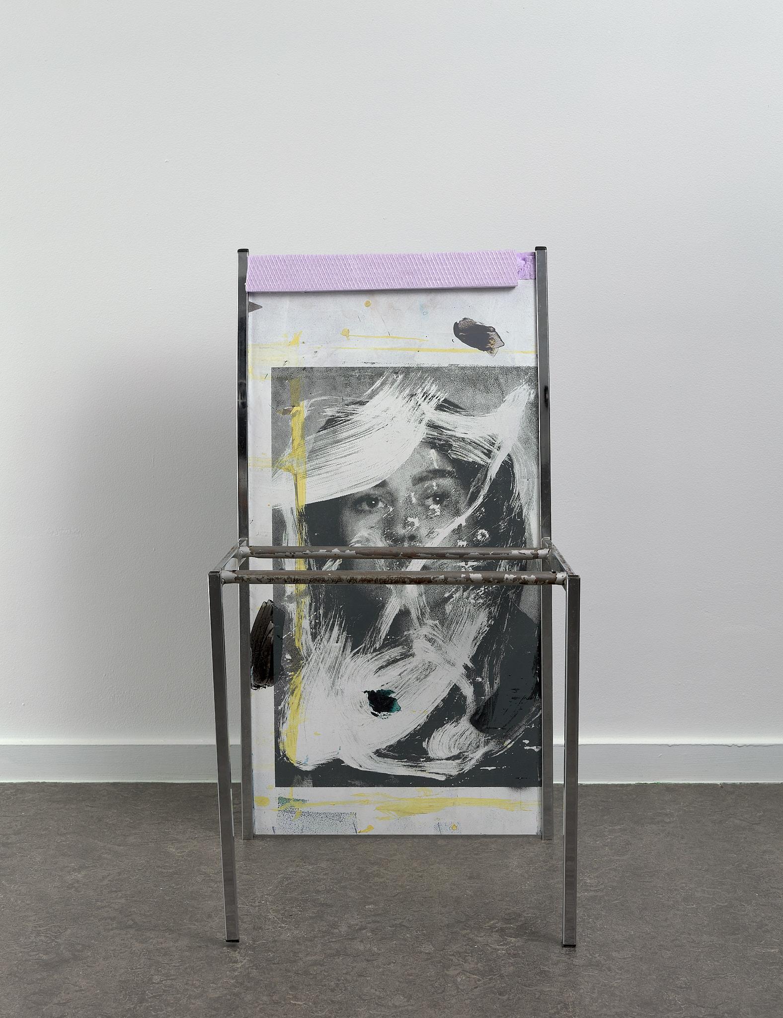 Untitled (merel), 2021 silkscreen, acrylic, insulation board, PVC and metal 80 42 46cm