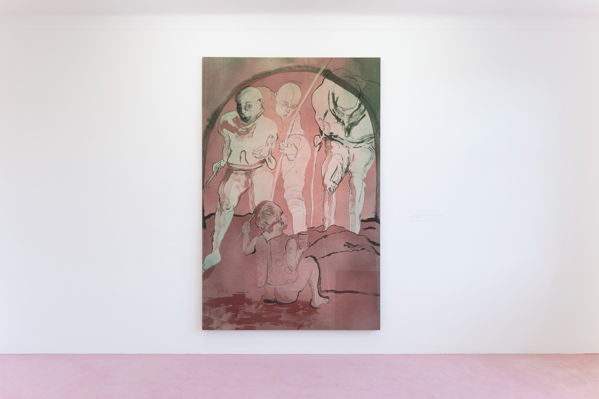 Installation view: Matthew Lutz-Kinoy. Window to the Clouds; Salon Berlin, Museum Frieder Burda Matthew Lutz-Kinoy, Lectures of Burle Marx, 2020, Acrylic and charcoal on canvas, 160 x 255 cm. Courtesy of the artist and Mendes Wood DM São Paulo, New York and Brussels; Photo: Thomas Bruns