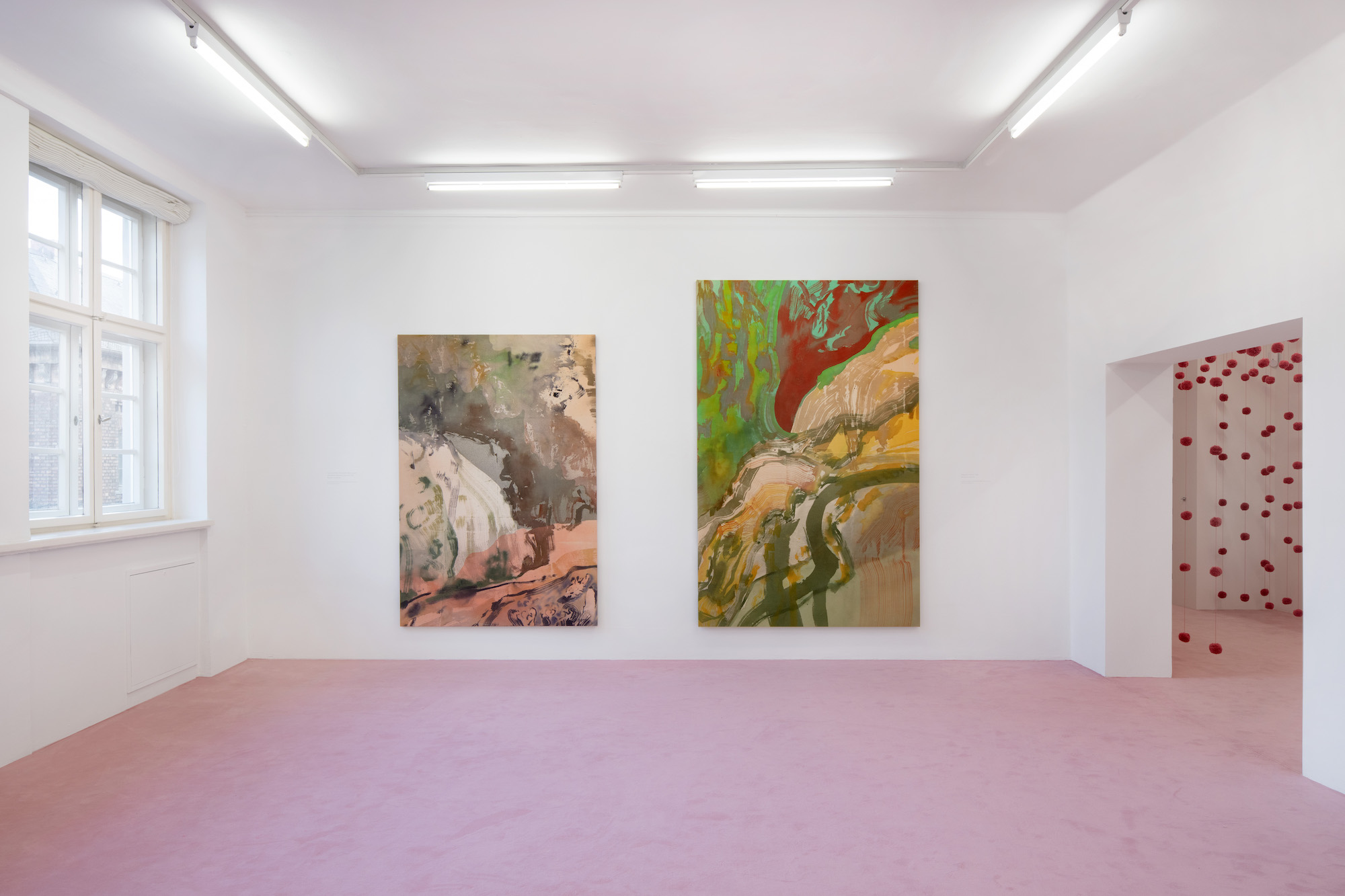 Installation view: Matthew Lutz-Kinoy. Window to the Clouds; Salon Berlin, Museum Frieder Burda Matthew Lutz-Kinoy, Vue du torrent du Valentin dans le parc des Buttes Chaumont au sud, 2020. Acrylic on canvas, 197 x 138 cm; Capriccio à Paris, 2020. Acrylic on canvas, 160 x 250 cm. Courtesy of the artist and Mendes Wood DM São Paulo, New York and Brussels; An opening of the field, 2020. Wool. Courtesy of the artist; Photo: Thomas Bruns