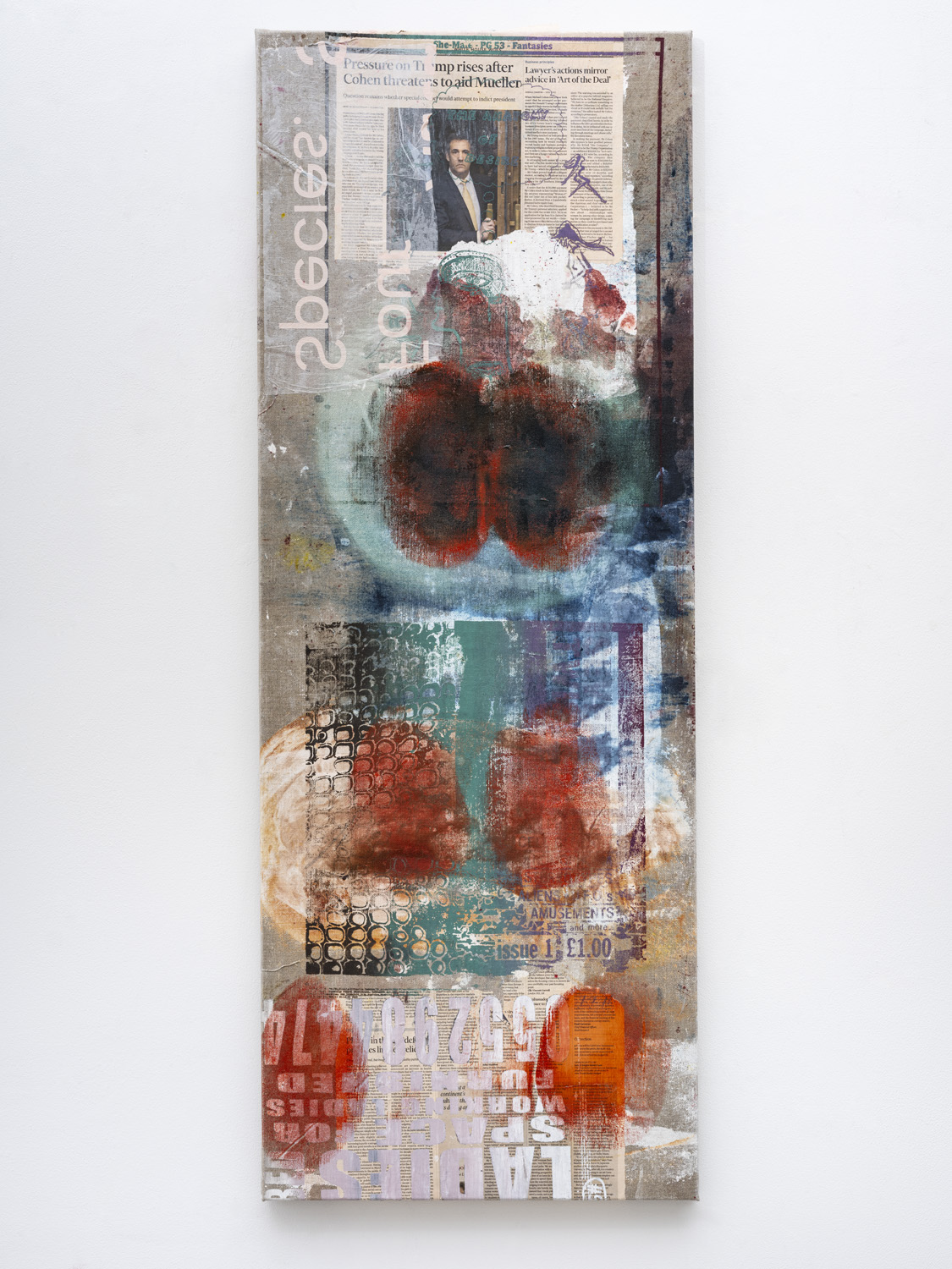 MANDY EL-SAYEGH Proofs (six), 2021 Oil on silkscreened linen and collaged elements 55.12 x 20.47 inches 140 x 52 cm Courtesy the artist and Lehmann Maupin, New York, Hong Kong, Seoul, and London