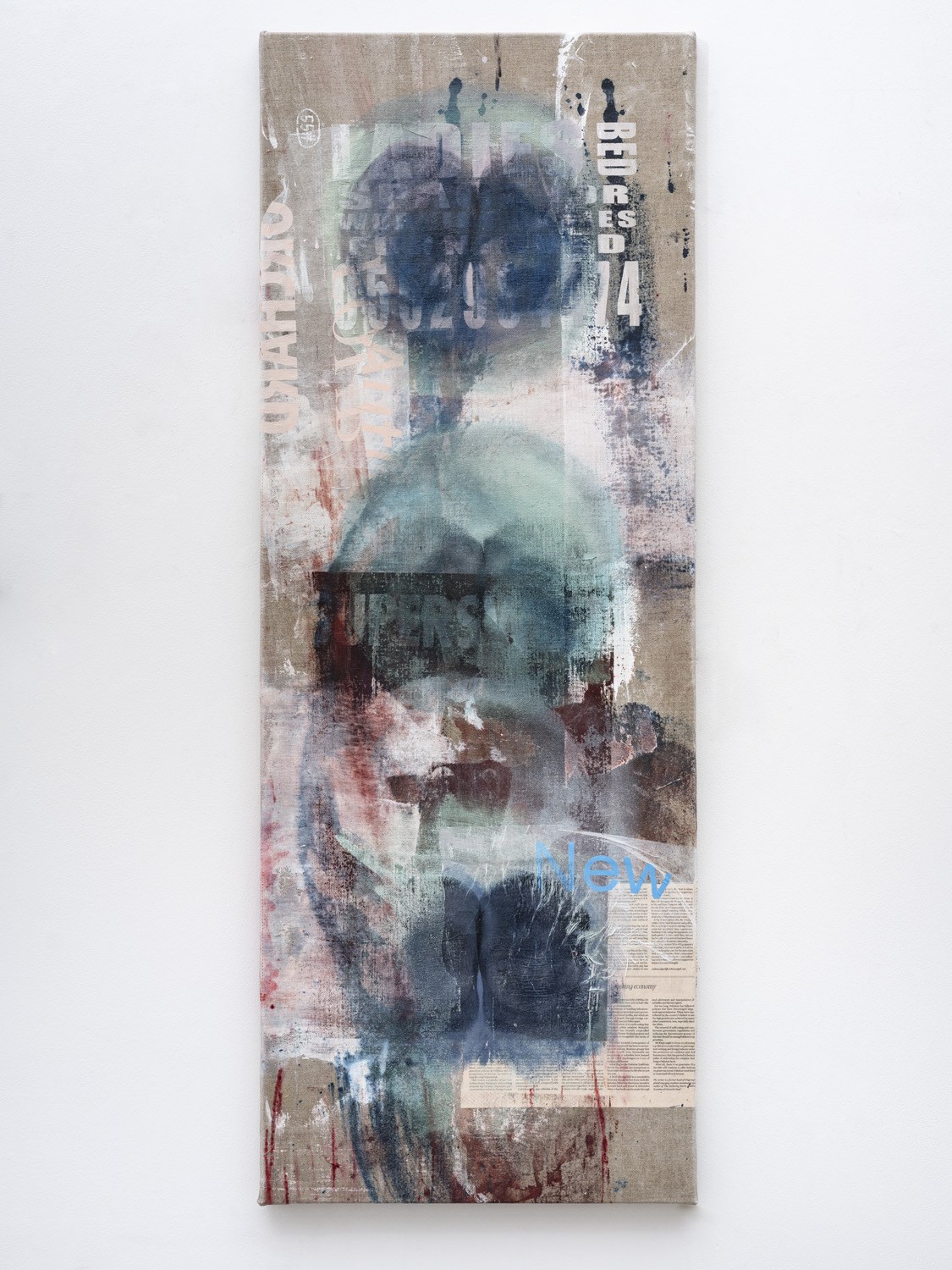 MANDY EL-SAYEGH Proofs (bed division), 2021 Oil on silkscreened linen and collaged elements 55.12 x 20.47 inches 140 x 52 cm Courtesy the artist and Lehmann Maupin, New York, Hong Kong, Seoul, and London