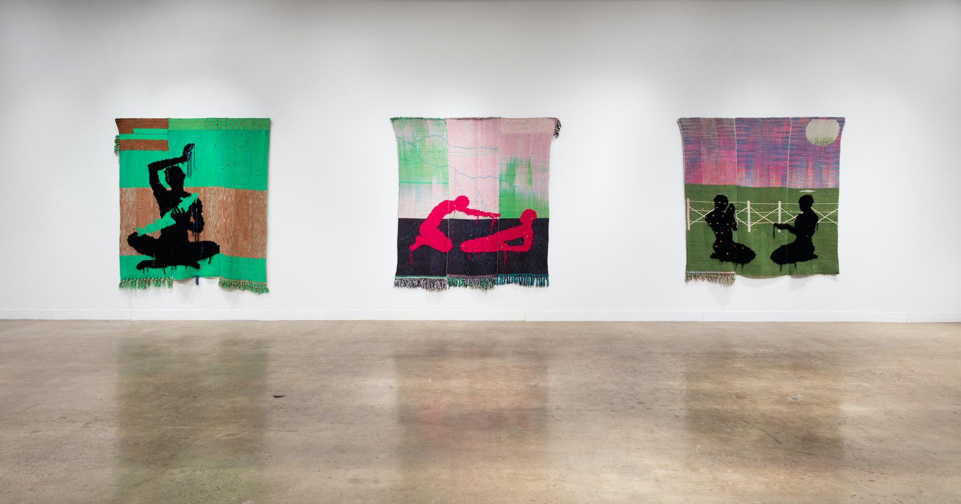 Installation view of Diedrick Brackens: shape of a fever believer at Oakville Galleries, 2021. Photo: Laura Findlay.