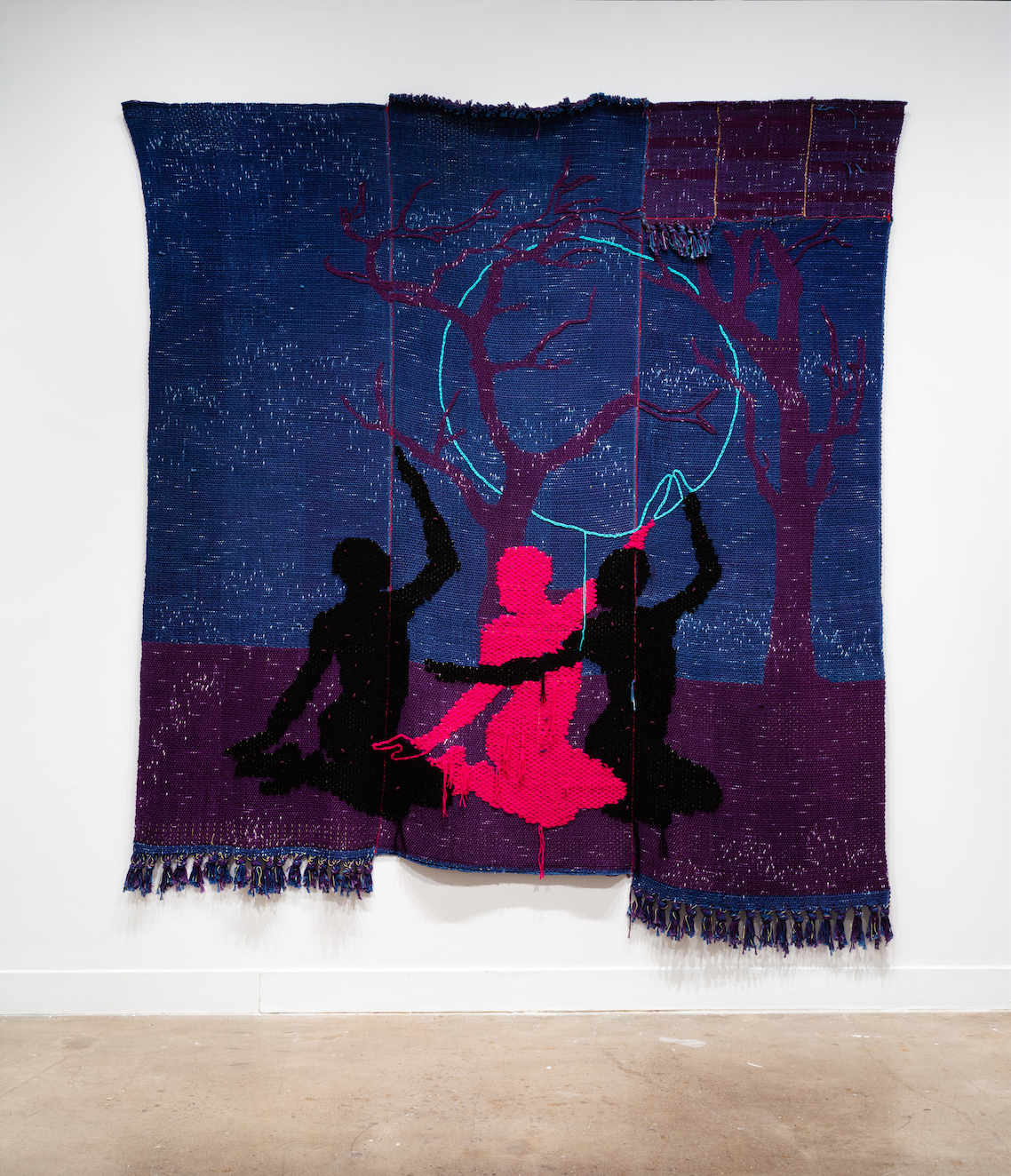 Diedrick Brackens, flying geese (installation view), 2020, woven cotton and acrylic yarn. Image courtesy of Oakville Galleries. Photo: Laura Findlay.