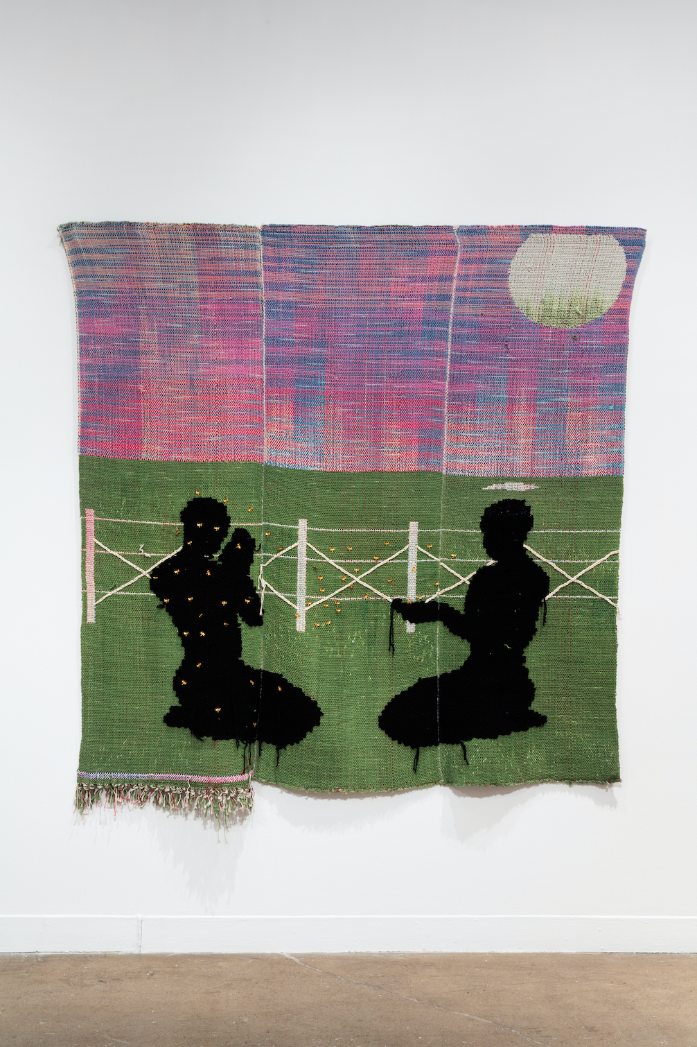 Diedrick Brackens, blessed are the mosquitoes (installation view), 2020, woven cotton and acrylic yarn. Image courtesy of Oakville Galleries. Photo: Laura Findlay.