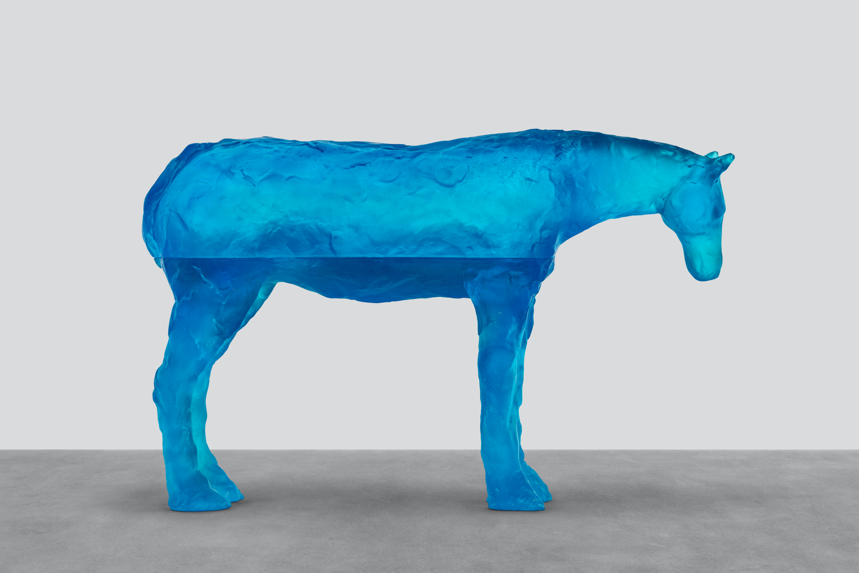 Ugo Rondinone arabian sea, 2021 blue glass 80.2 x 126.5 x 30.4 cm / 31 5⁄8 x 49 3⁄4 x 12 in Credit: © Ugo Rondinone, courtesy Sadie Coles HQ, London. Photo: Eva Herzog