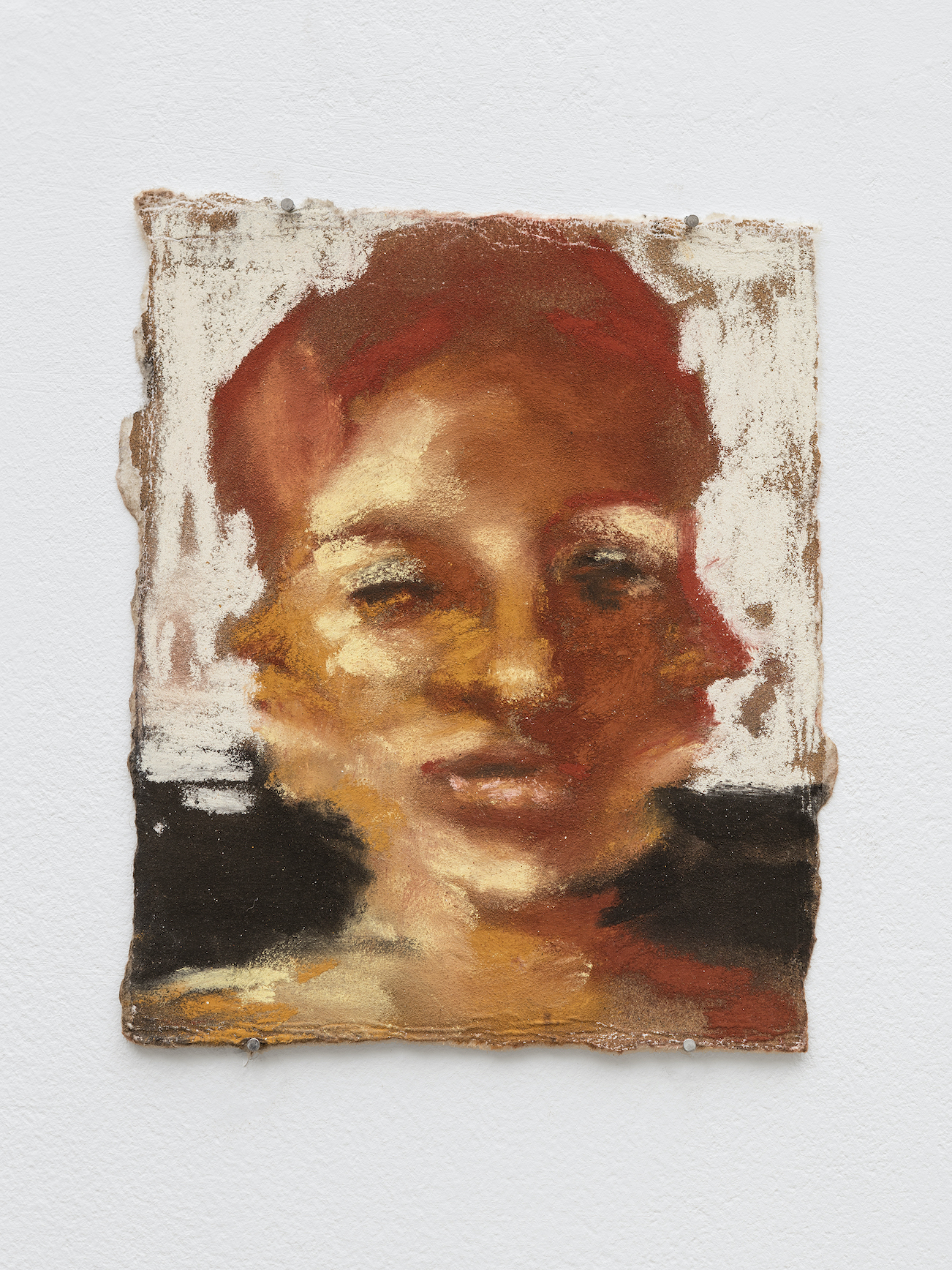 Sophie Ruigrok, Self portrait with three heads, 2020 Soft pastels on card 12 x 15