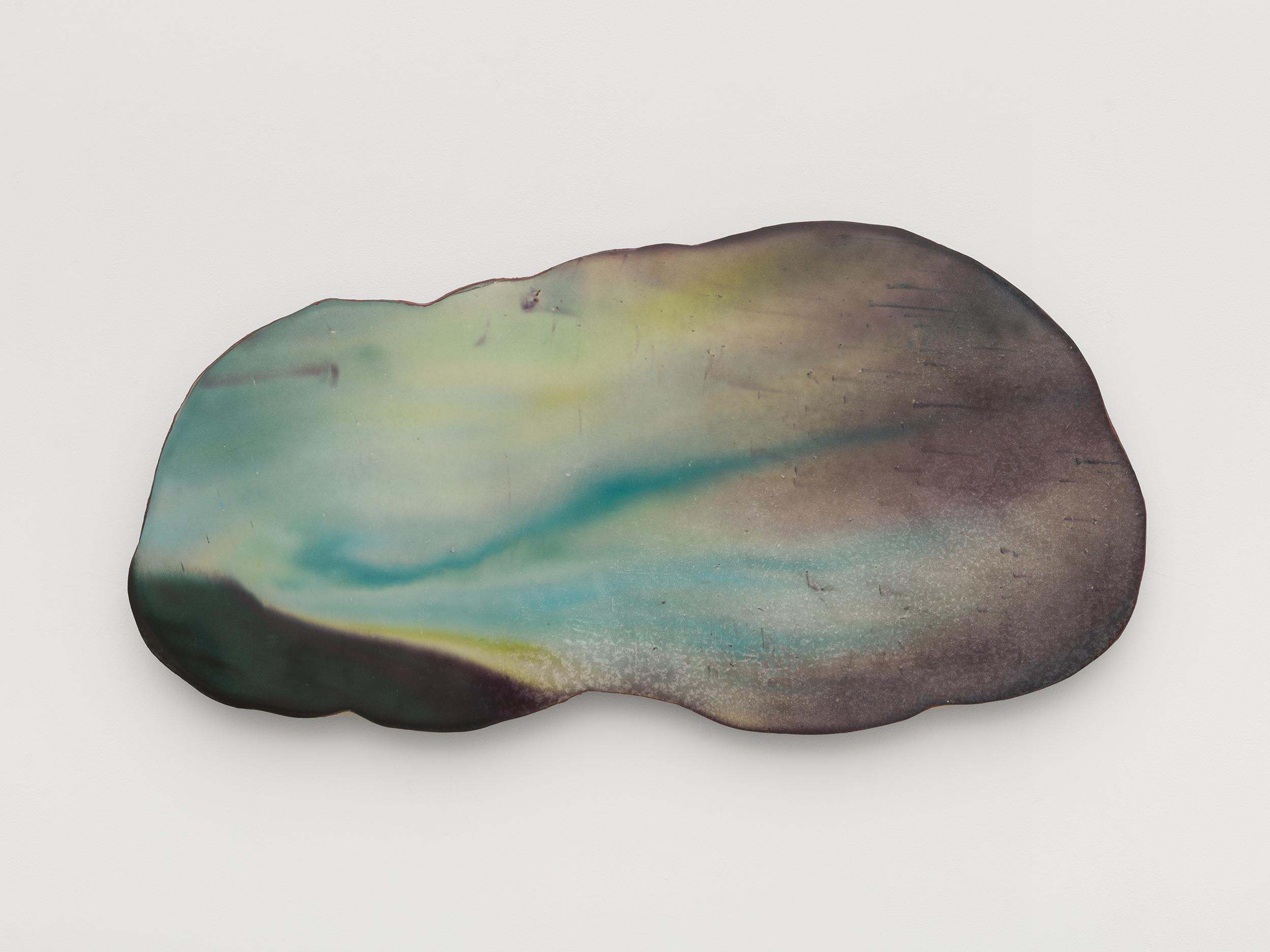 Harminder Judge, Untitled (as the sugarcane parts), 2021 plaster, polymer, pigment, scrim, oil, wax 43 x 84 x 4 cm
