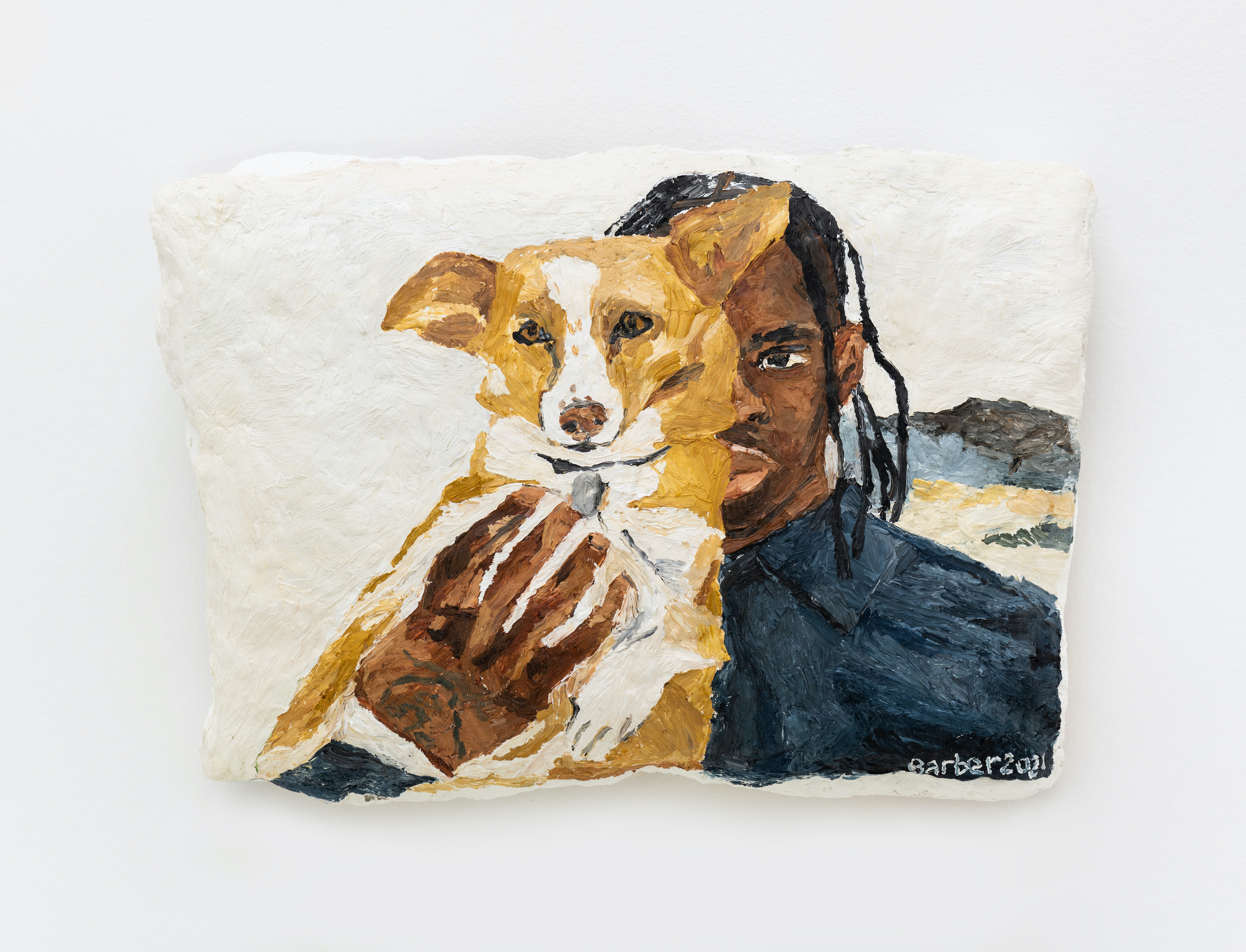 Sophie Barber, Travis Scott holding a corgi, 2021. Oil on canvas, 8 x 12 1⁄8 x 3 3⁄8 in (20.2 x 30.5 x 8.5 cm)