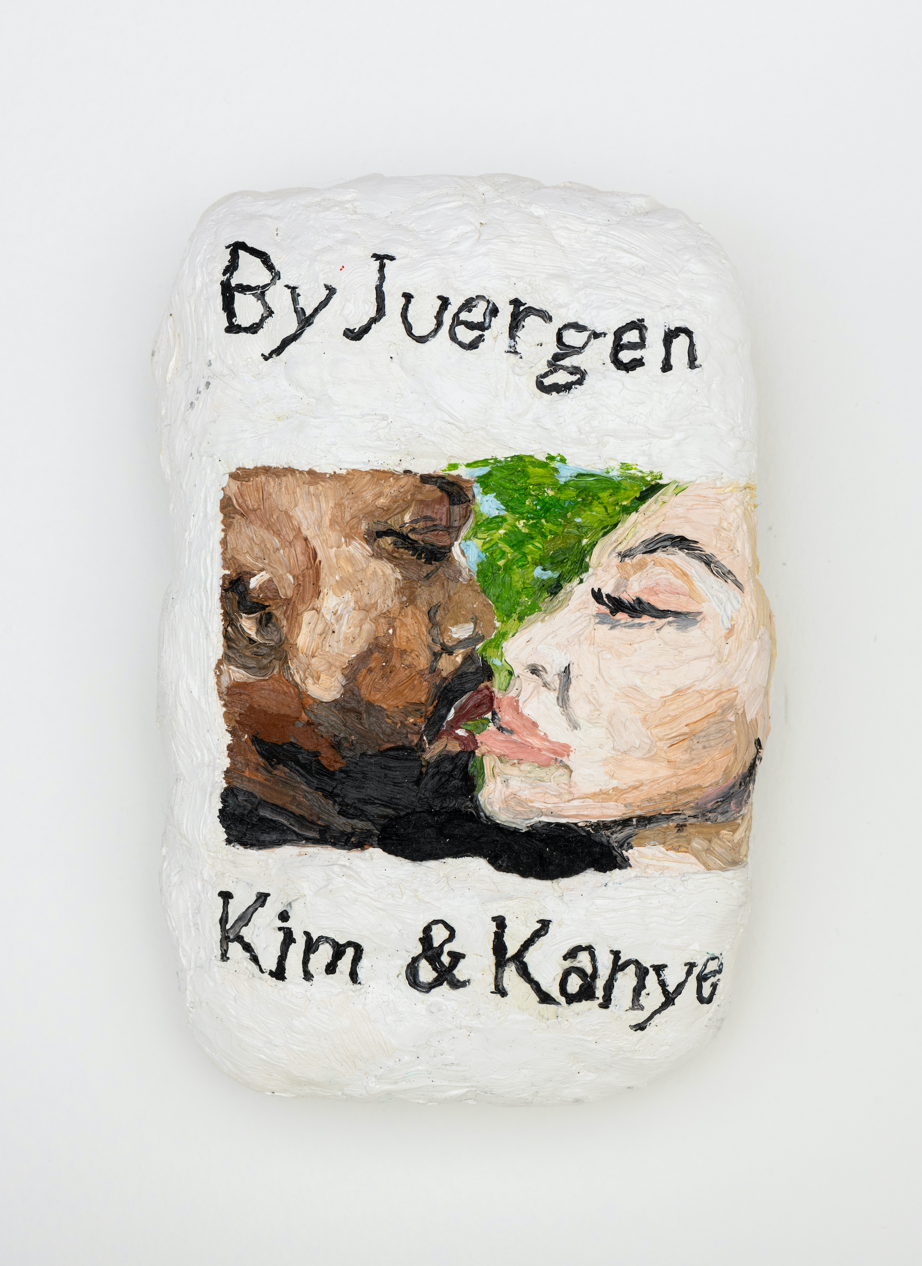 Sophie Barber Kim and Kanye kiss without tongues, 2021. Oil on canvas, 5 1⁄4 x 3 1⁄2 x 1 5⁄8 in (13.2 x 8.9 x 4 cm)