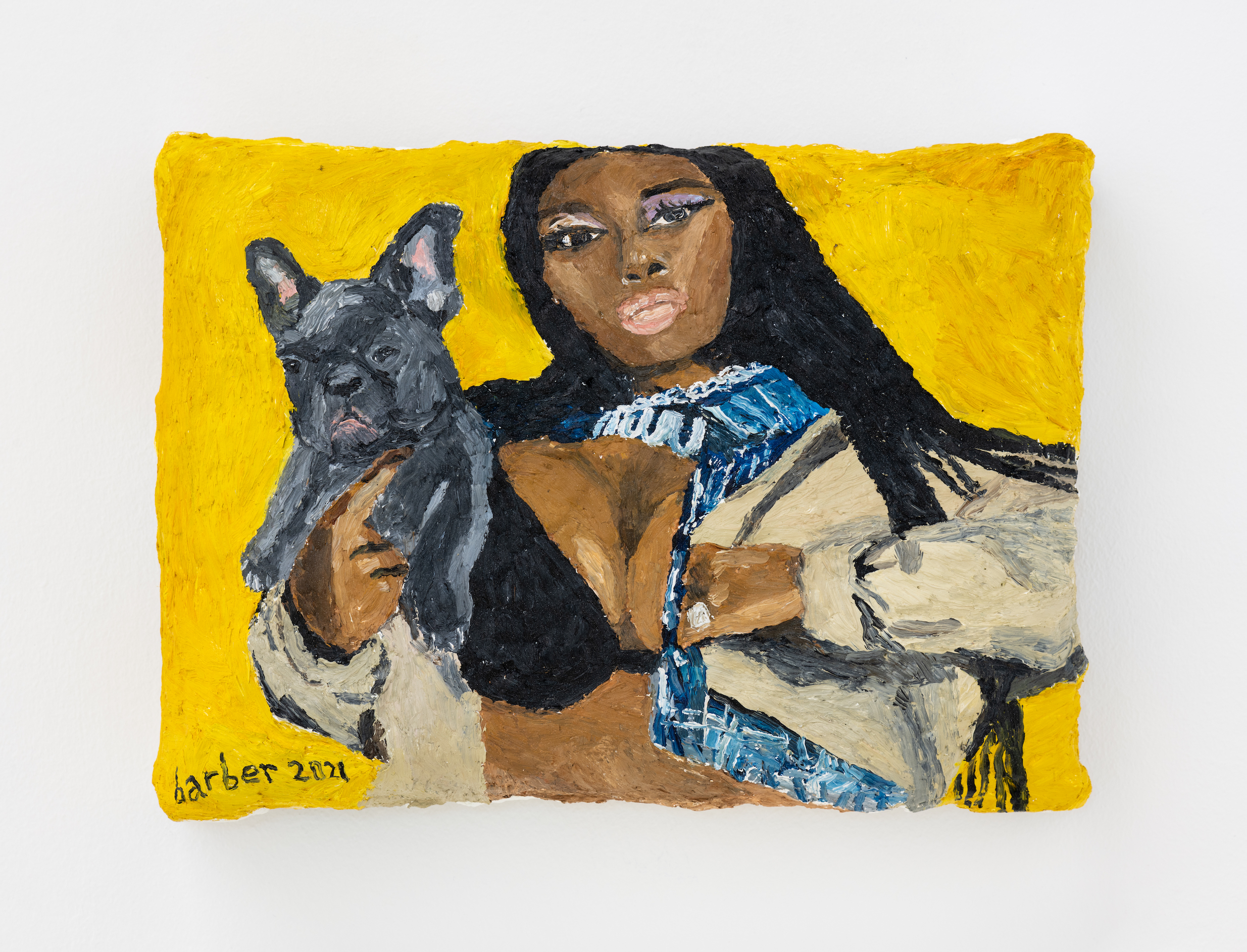 Sophie Barber Megan Thee Stallion with her puppies, 2021. Oil on canvas, 7 7⁄8 x 10 5⁄8 in (20 x 27 cm)