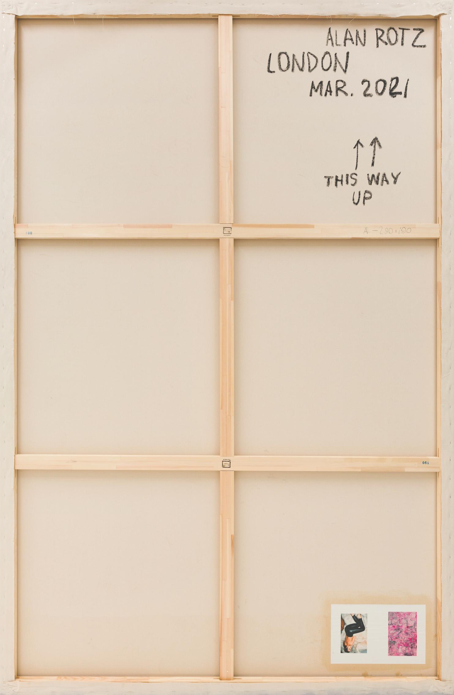 Alan Rotz, London, 2021, oil stick, print on paper, oil and acrylic on canvas, laminated wood, 290 x 190 cm (114 11/64 x 74 51/64 inches). © 2021, Alan Rotz. Photo: Vladimir Umanetz.