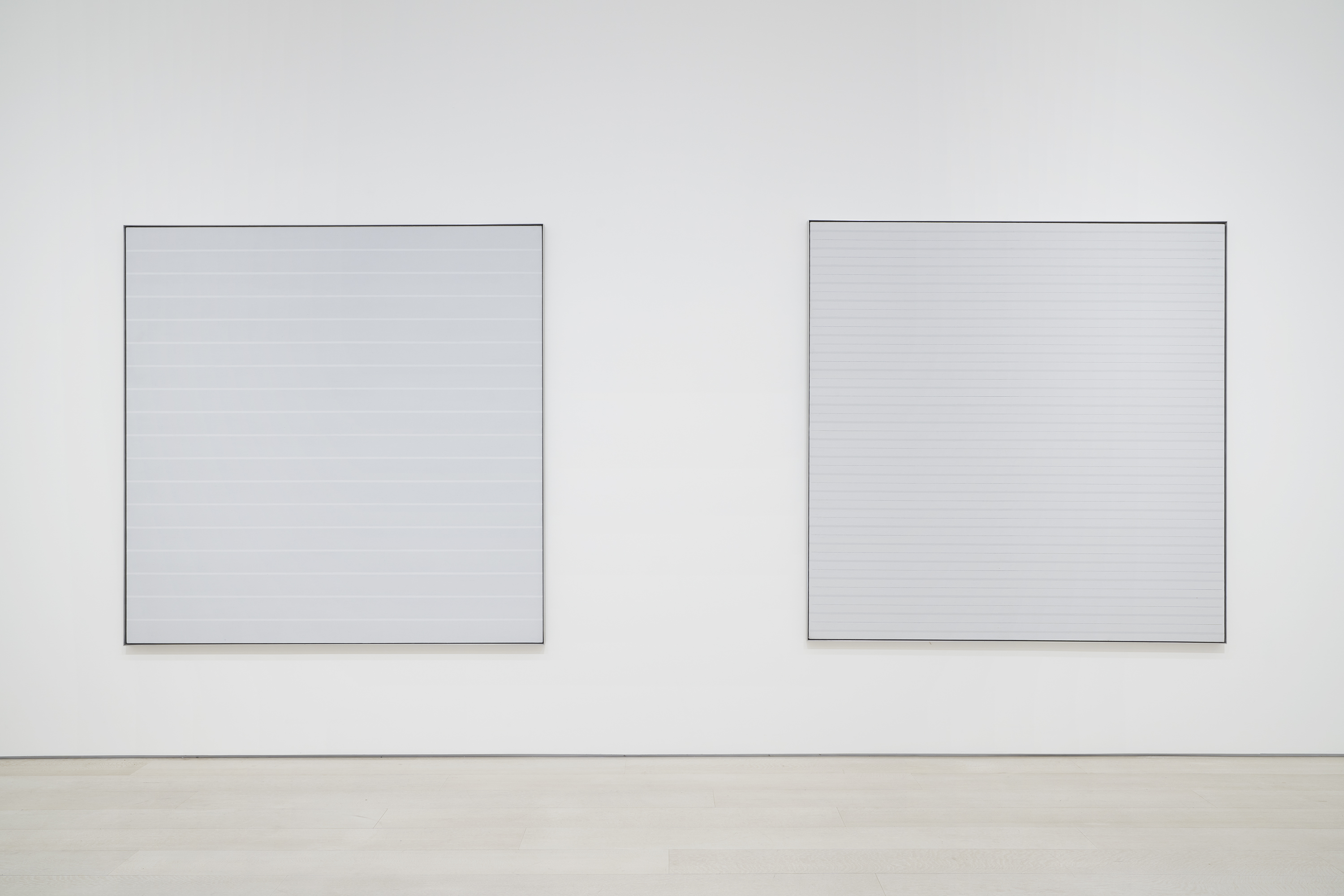 Installation view: Agnes Martin:The Distillation of Color, Pace Gallery, New York, May 5 – June 26, 2021. Photography courtesy of Pace Gallery