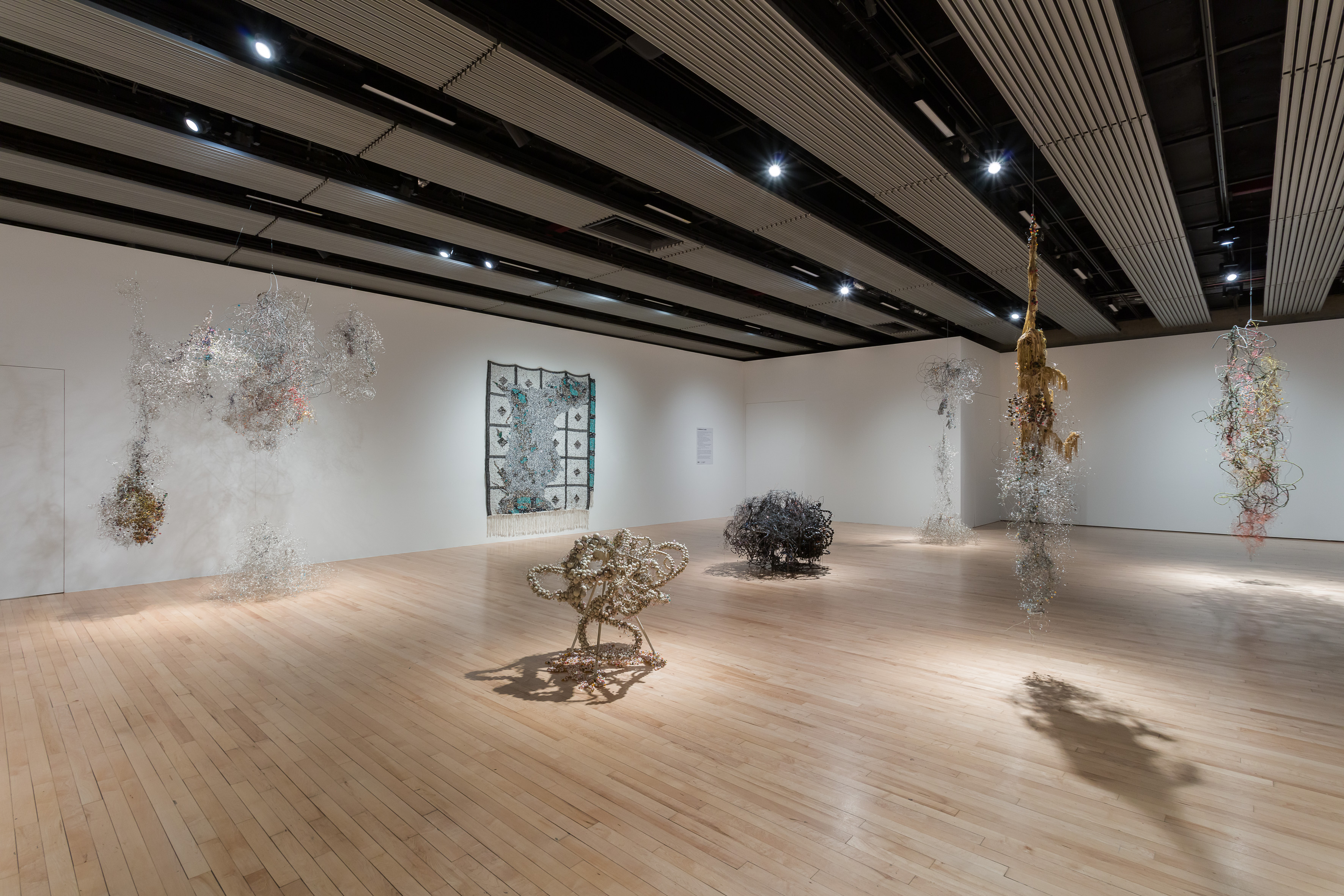 Installation View: Igshaan Adams: Kicking Dust, Hayward Gallery, London, 19 May – 25 July 2021. Photo: Mark Blower