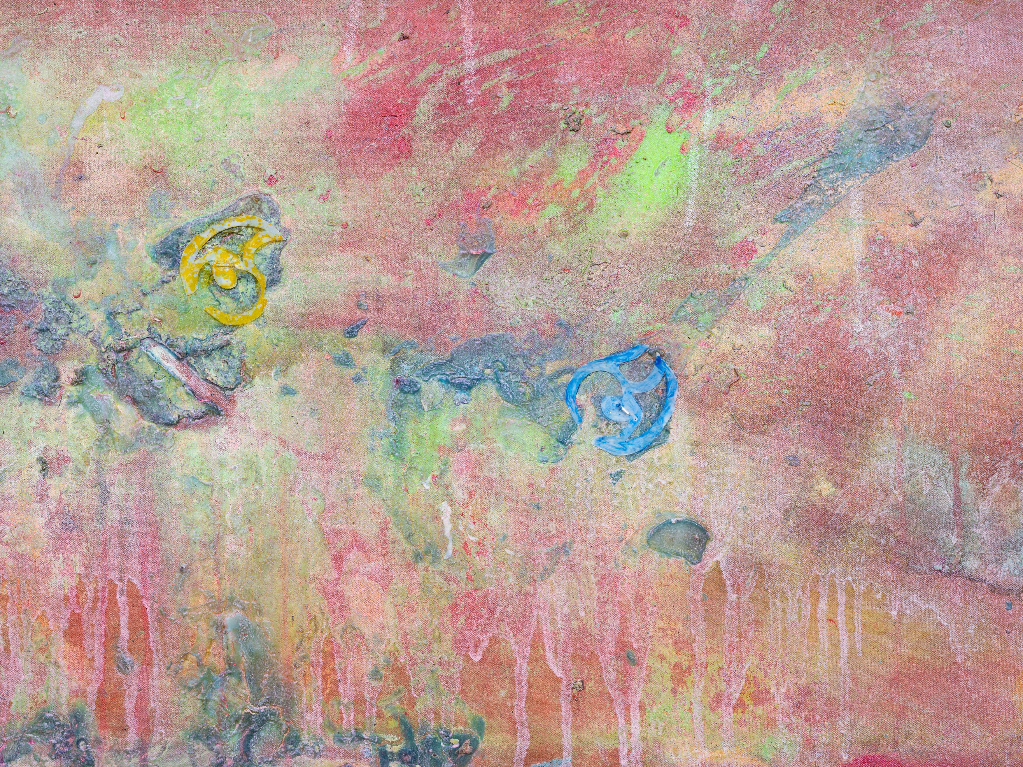 Frank Bowling, Jetty 1983 Acrylic, acrylic gel and polyurethane foam on canvas 181 x 252 cm, Frank Bowling – London / New York, Hauser & Wirth, 21 May - 31 July 2021.Photo: Alex Delfanne, Courtesy the artist and Hauser & Wirth.