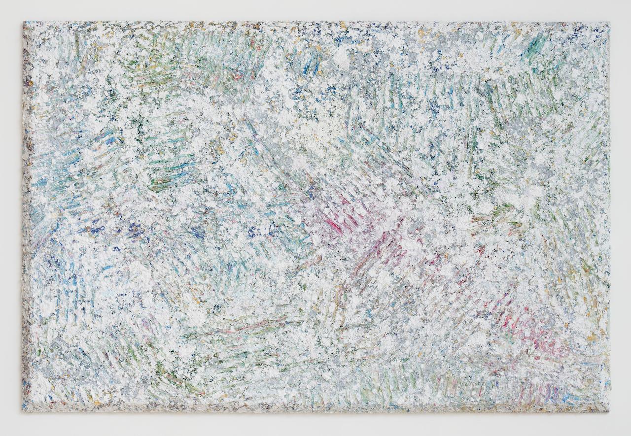 """Sam Gilliam In Now, 2021 acrylic on canvas, bevel-edge 48"""" × 72"""" × 4"""" (121.9 cm × 182.9 cm × 10.2 cm). Sam Gilliam 2-3/F, 267 Itaewon-ro, Yongsan-gu, Seoul May 27 – July 10, 2021. © 2021 Sam Gilliam/ Artists Rights Society (ARS), New York"""