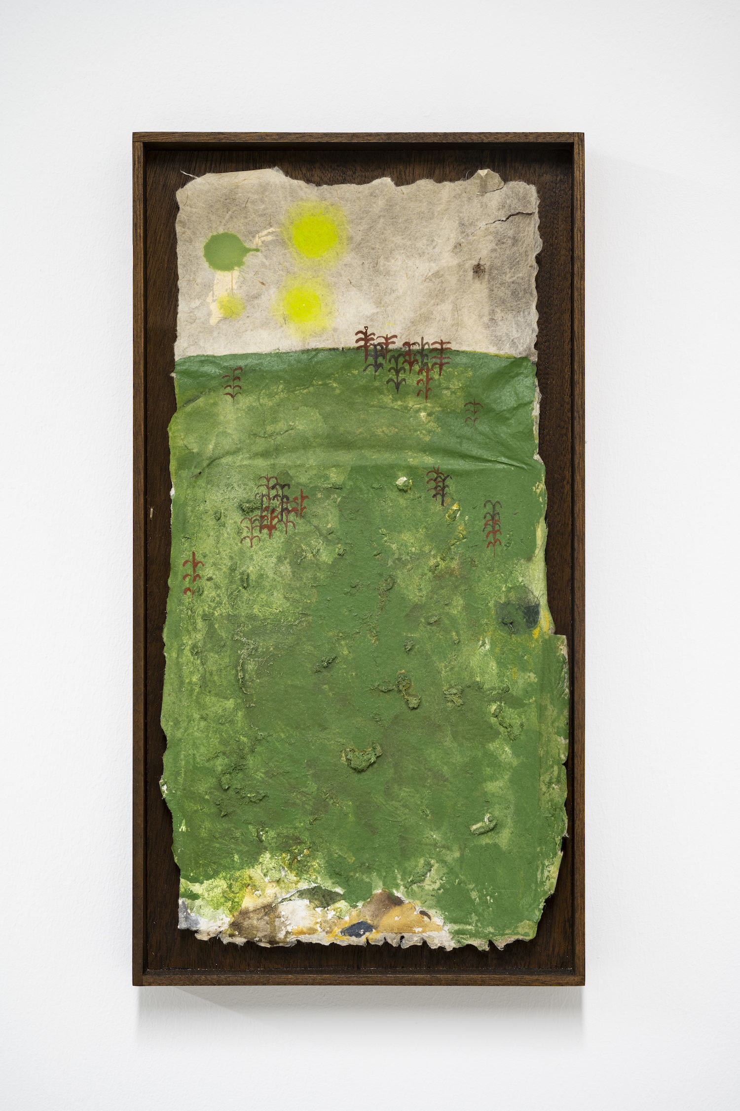 Luca Longhi, 'Untitled (tentative)' 2020. Watercolour, oil, acrylic, sawdust and scrap paper, 31.5 x 17 cm. Photo credit: Damian Griffiths