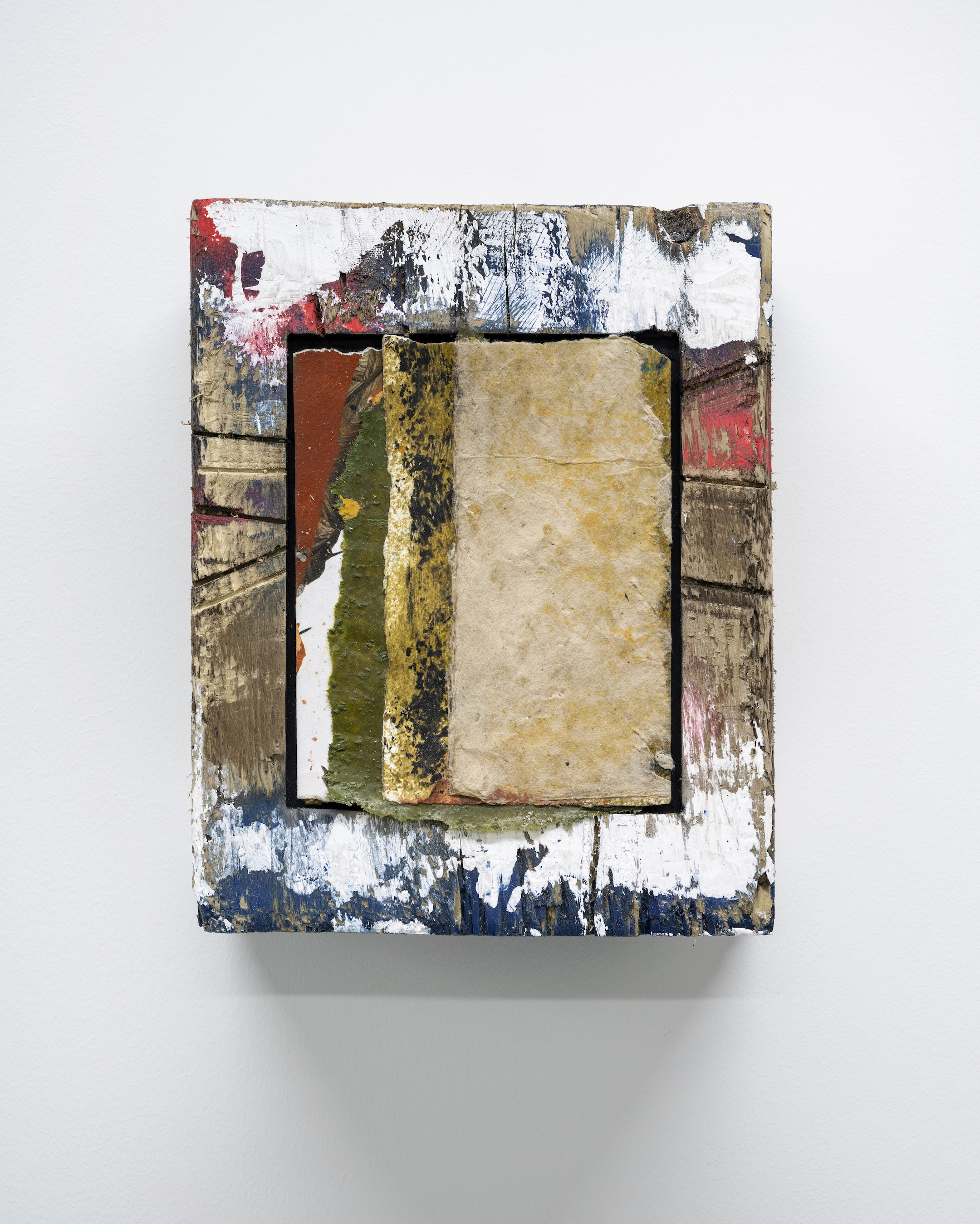 Luca Longhi, 'Untitled (tentative)' 2020. Oil, acrylic, sawdust and scrap paper 17 x 13cm. Photo credit: Damian Griffiths
