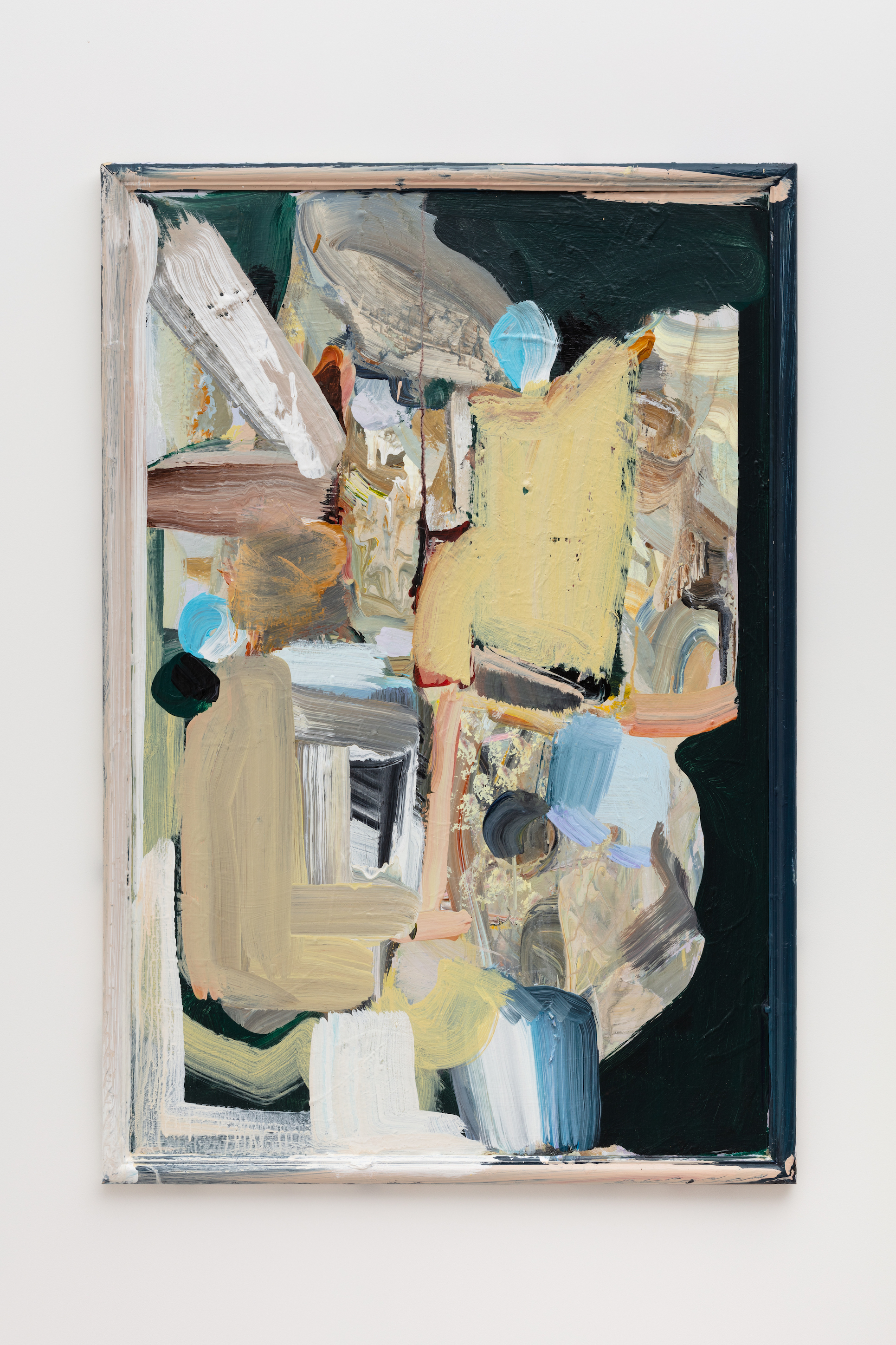 Katy Moran still life with nothing, 2019 acrylic on board in found frame 95.5 x 65.6 cm