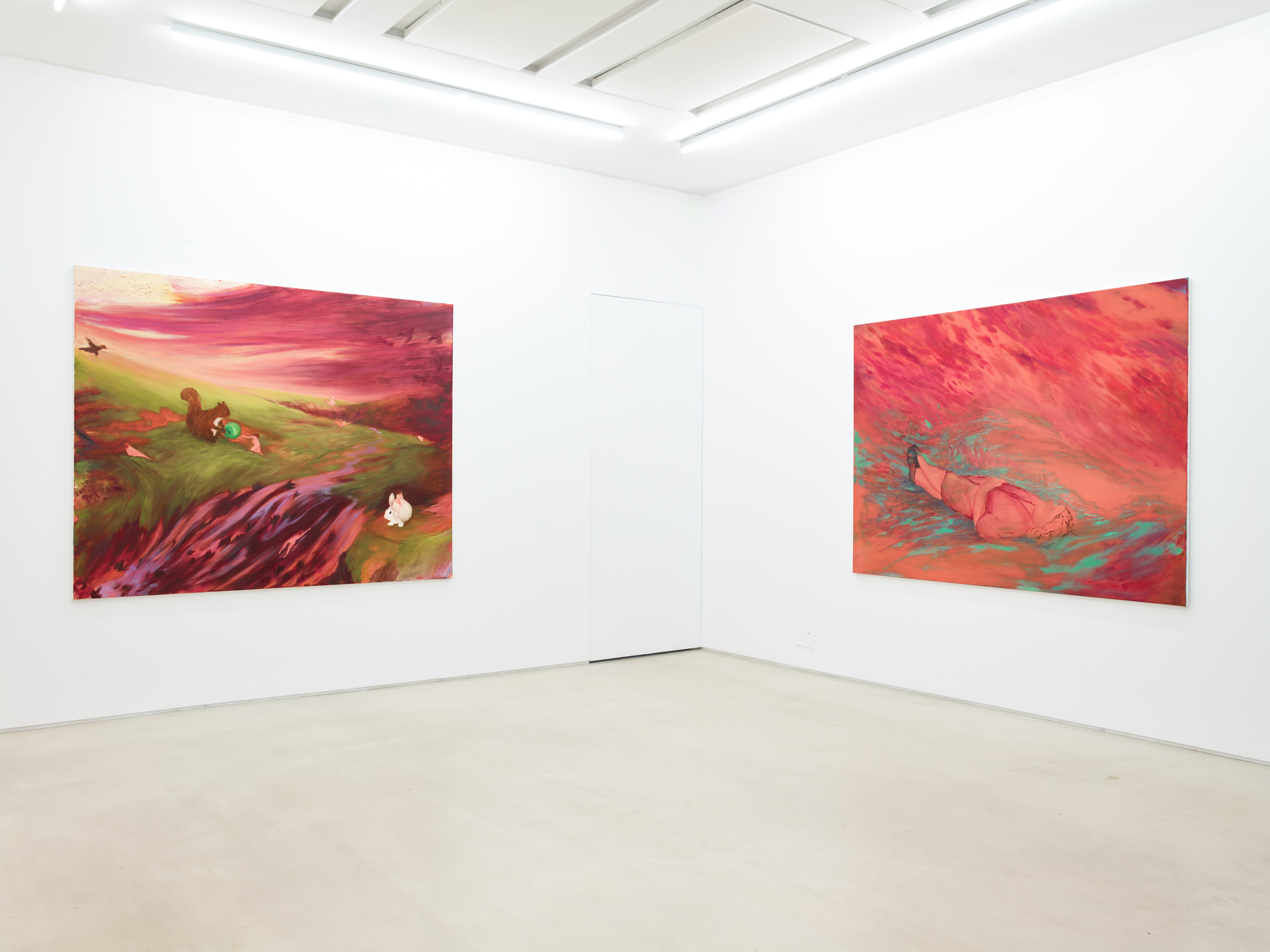Acme 2021 Showcase. Installation view: Left: Amy Steel, 'The Days Eye', 2020; Right: Amy Steel, 'Not Five Minutes From Home', 2020. Image credit to Stephen Watts & Co and Courtesy of PEER, London.