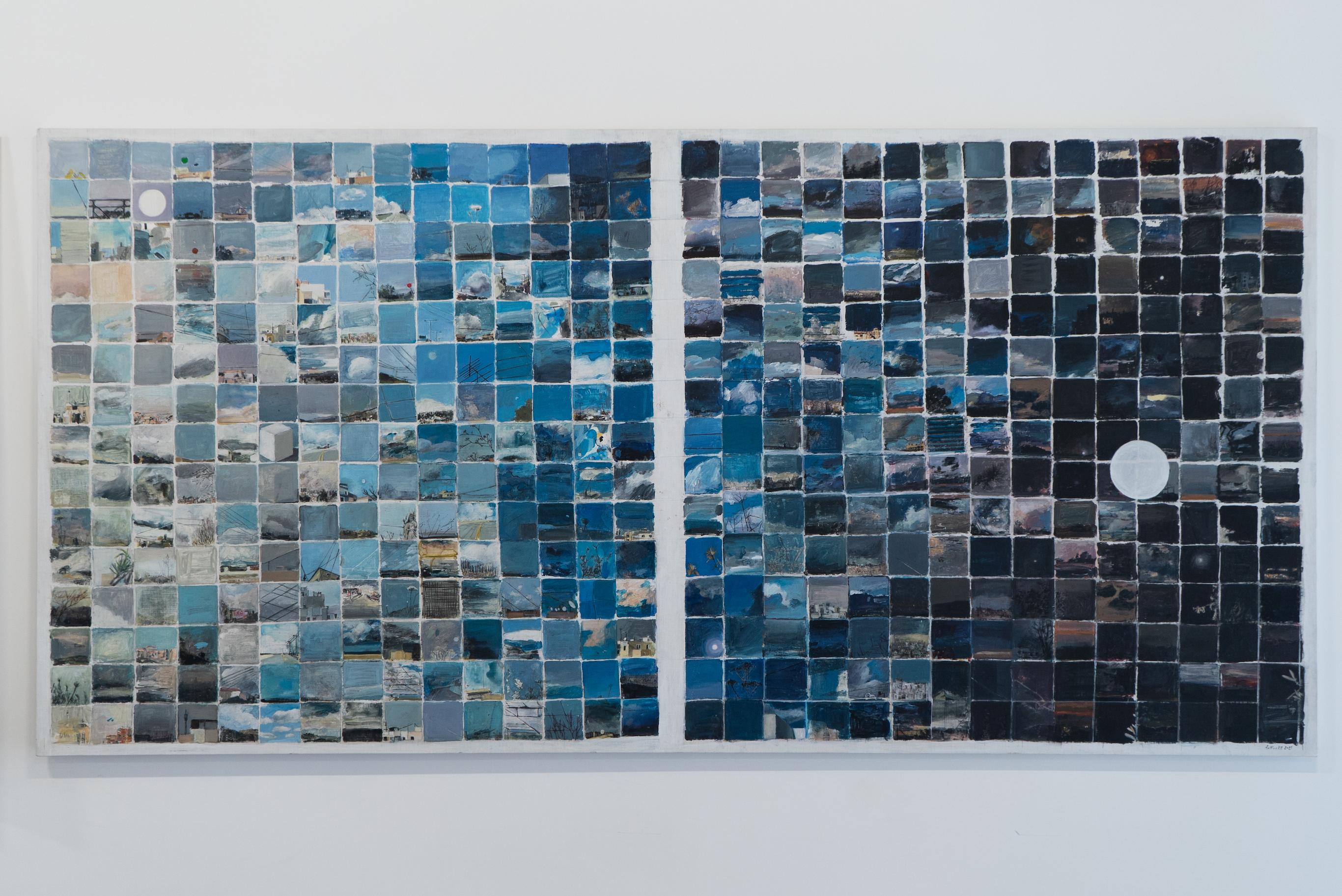Bettina Khoury Badr, Sky Diary, 2021, Watercolor, mixed media on canvas, 107 x 214 cm © Dimitri Nassar, Courtesy of Galerie Tanit