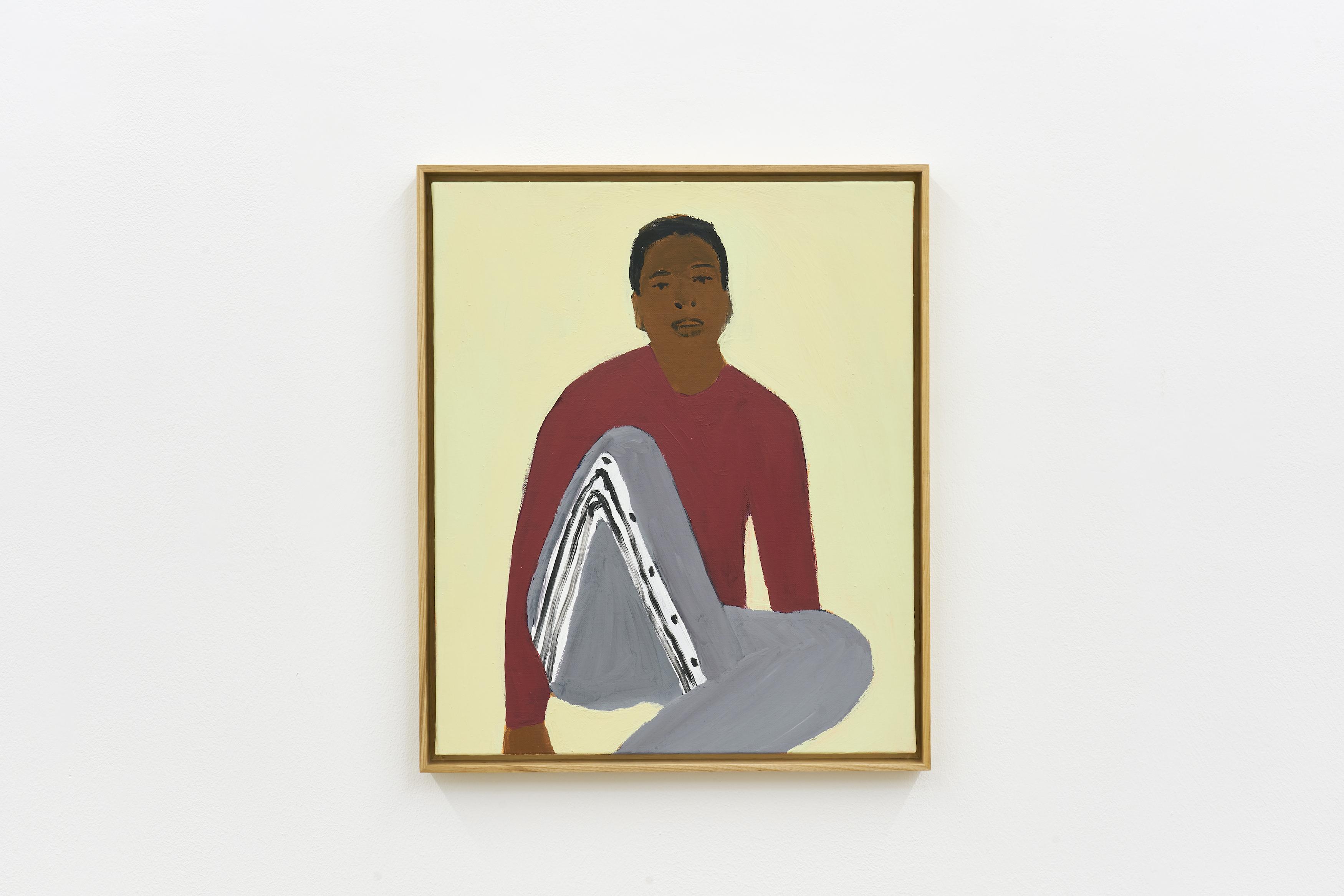 Gregory Olympio, Homme assis, fond vert, 2021, Acrylic on canvas, 61 x 50 cm.