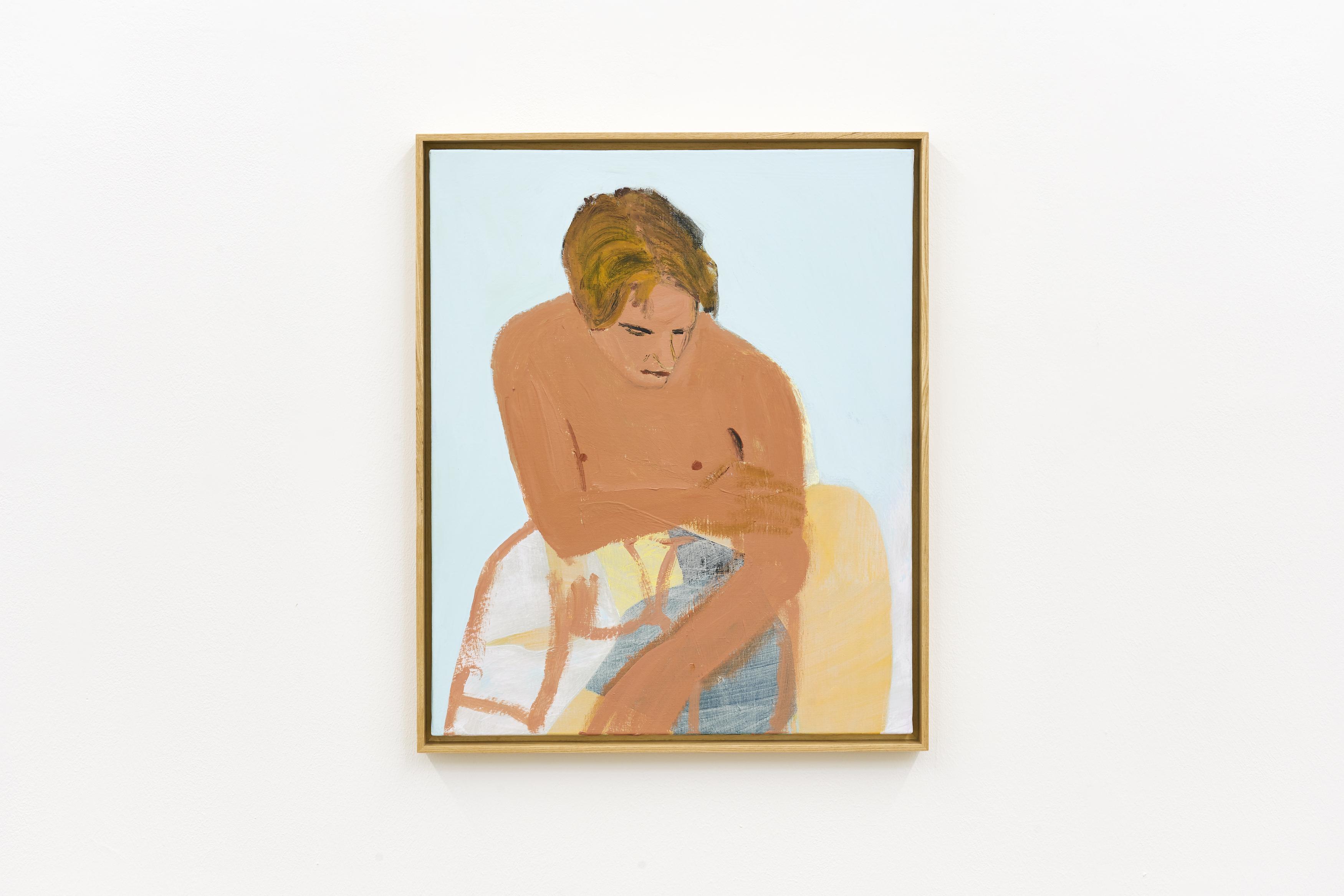 Gregory Olympio, Homme assis, fond bleu, 2020, Acrylic on canvas, 61 x 50 cm.