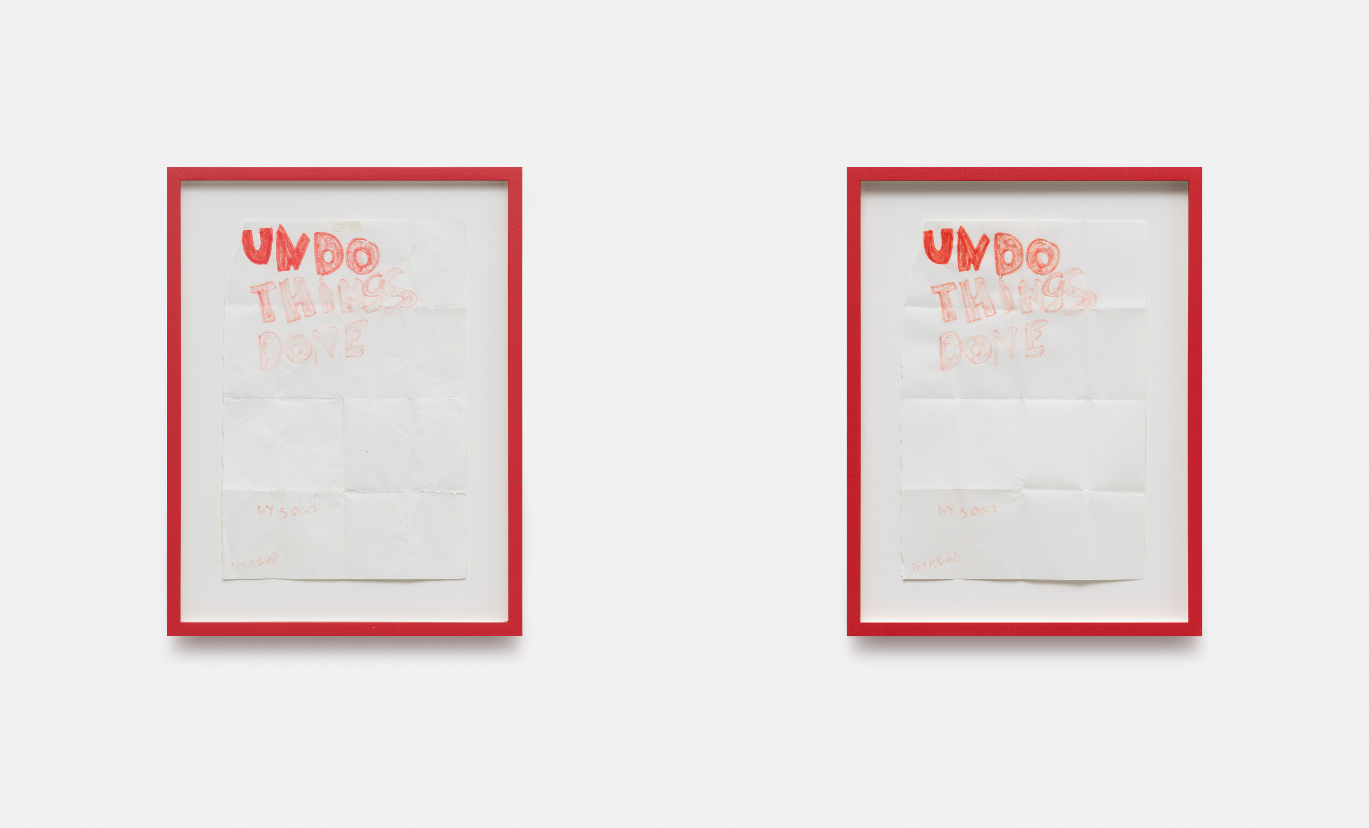 Sean Edwards, 'Undo Things Done (preparatory studies)', 2021. Original ink drawing by the artist's son, watercolour on paper, framed 2 parts: each 25.3×33.7 cm. Photography: Gunter Lepkowski. All images courtesy of the artist and Tanya Leighton, Berlin.