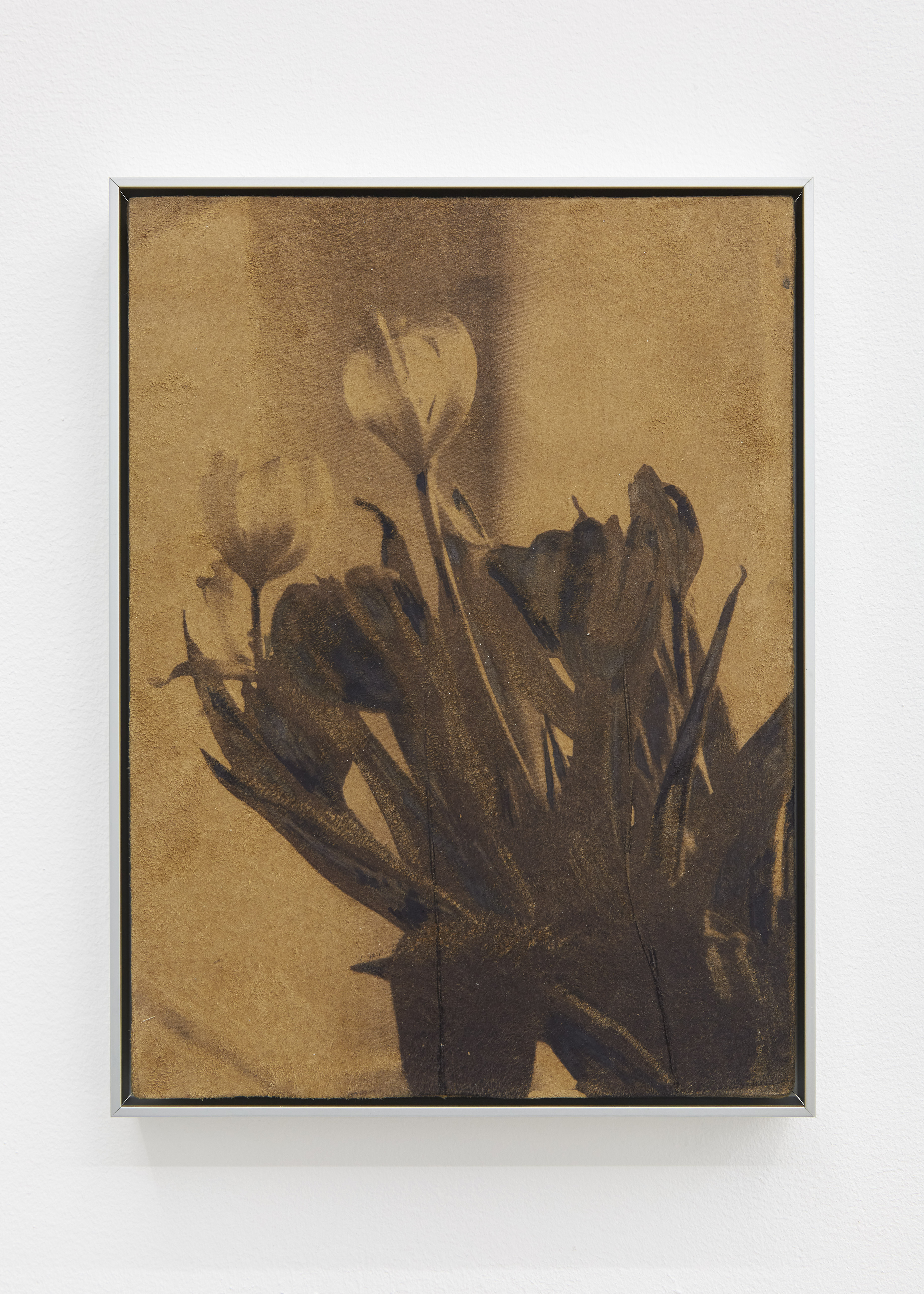 Tulips, 2021. Oil and watercolour on suede, aluminium frame, 25.5 x 19.5 cm