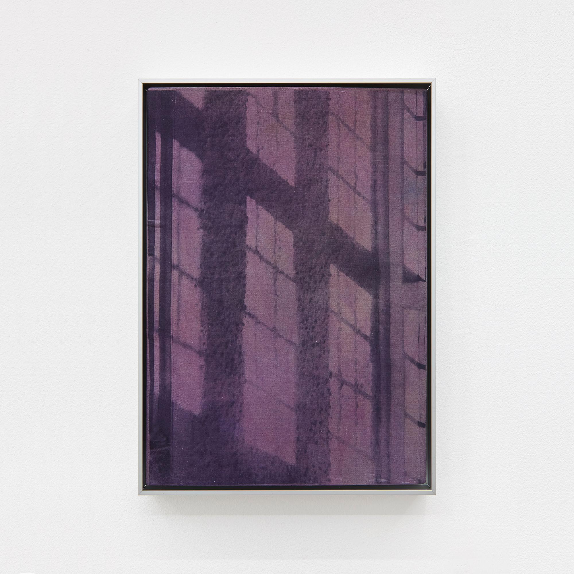 Nocturne, 2021. Oil on dyed silk, aluminium frame 25.5 x 19.5 cm