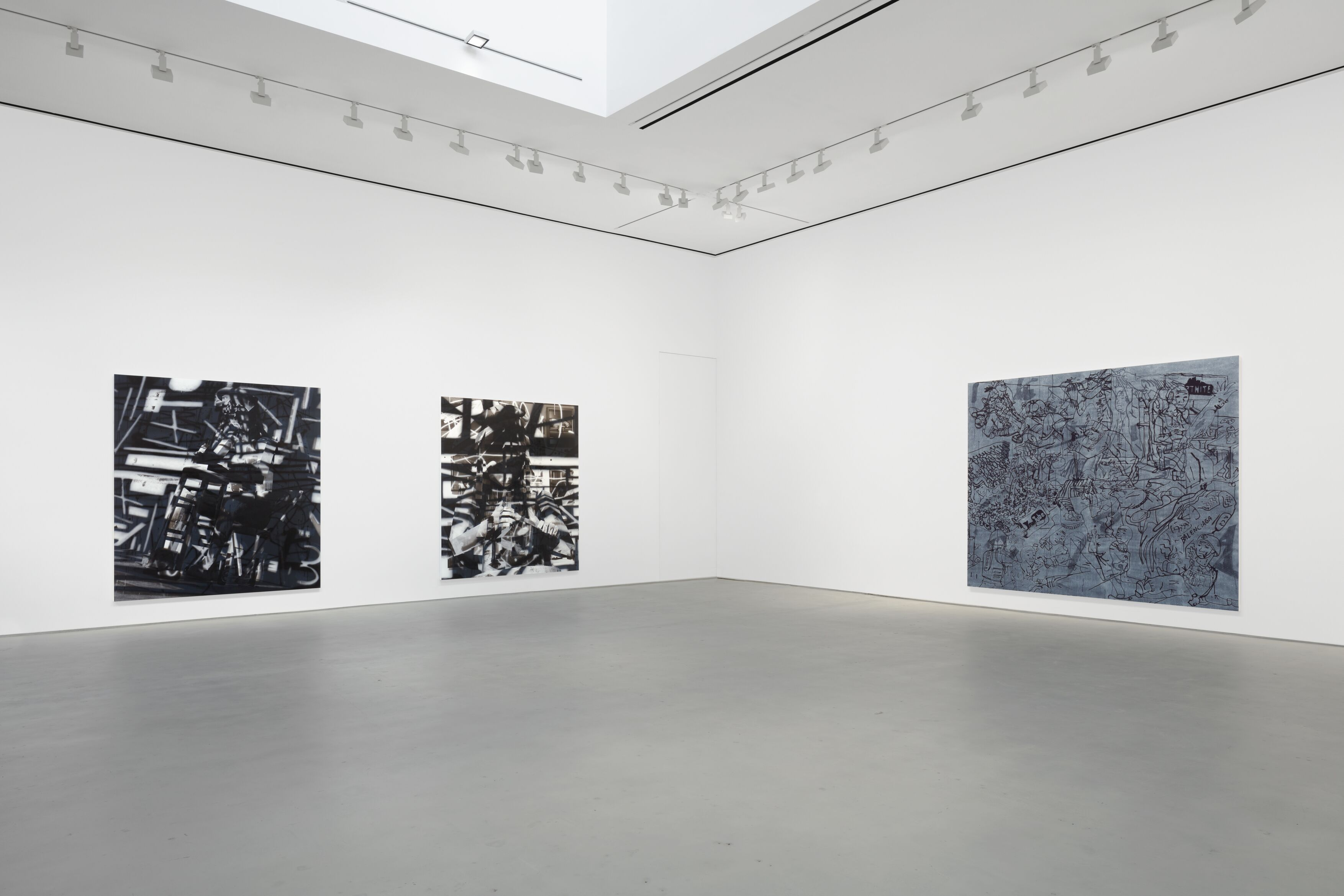 Installation view, 'Avery Singer. Reality Ender,' Hauser & Wirth New York, 22nd Street, 2021. Picturing: 'Studio,' 2019, Solomon R. Guggenheim Museum, Purchased with funds contributed by Richard Weinberg, 2020; 'Sculptor,' 2021; 'Wojack Battle Scene,' 2021, © Avery Singer, courtesy the artist, Hauser & Wirth, and Kraupa-Tuskany Zeidler, Berlin Photo: Lance Brewer