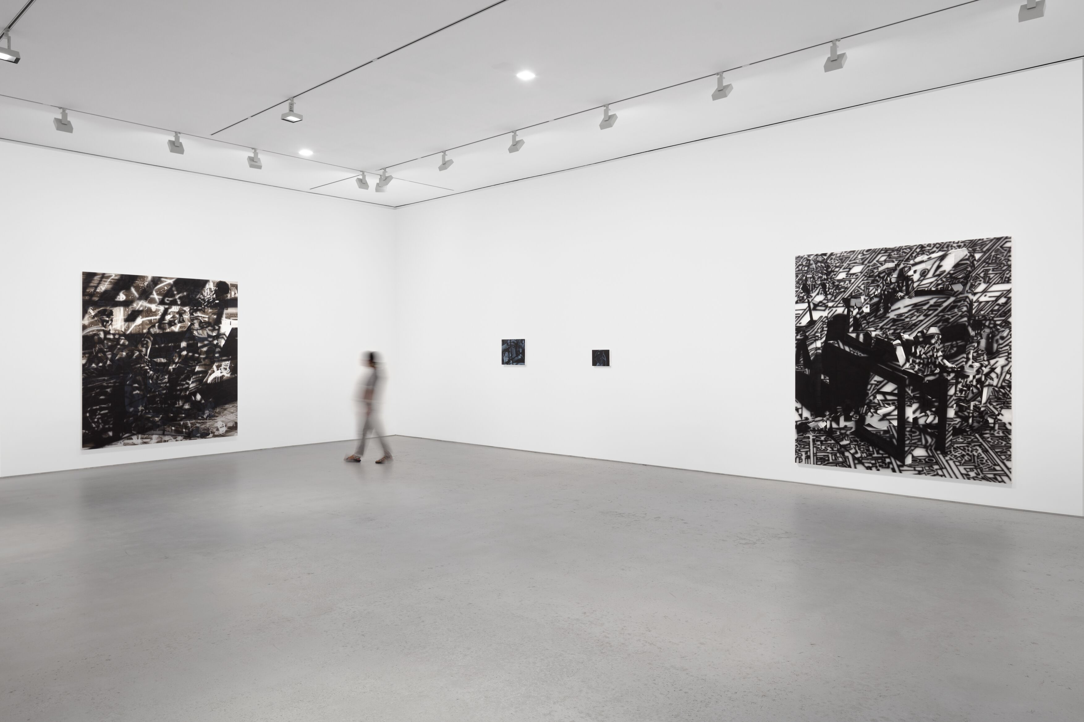 Installation view, 'Avery Singer. Reality Ender,' Hauser & Wirth New York, 22nd Street, 2021. Picturing: 'Side Quest,' 2021; 'Sculptor (Study),' 2021; 'Sculptor,' 2021; 'Happening,' 2021, © Avery Singer, courtesy the artist, Hauser & Wirth, and Kraupa-Tuskany Zeidler, Berlin Photo: Lance Brewer