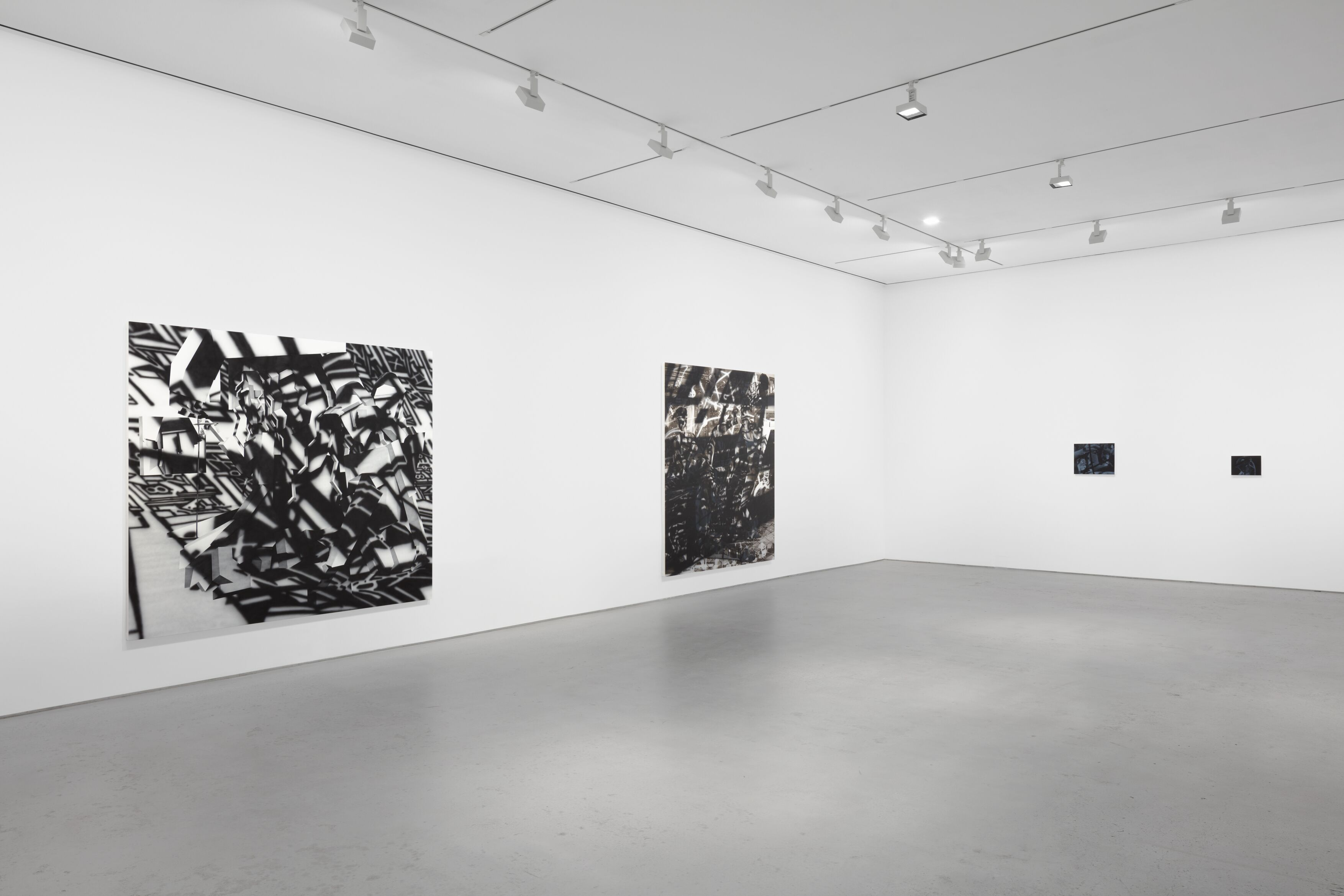 Installation view, 'Avery Singer. Reality Ender,' Hauser & Wirth New York, 22nd Street, 2021. Picturing: 'Happening,' 2021; 'Side Quest,' 2021; 'Sculptor (Study),' 2021; 'Sculptor,' 2021, © Avery Singer, courtesy the artist, Hauser & Wirth, and Kraupa-Tuskany Zeidler, Berlin Photo: Lance Brewer