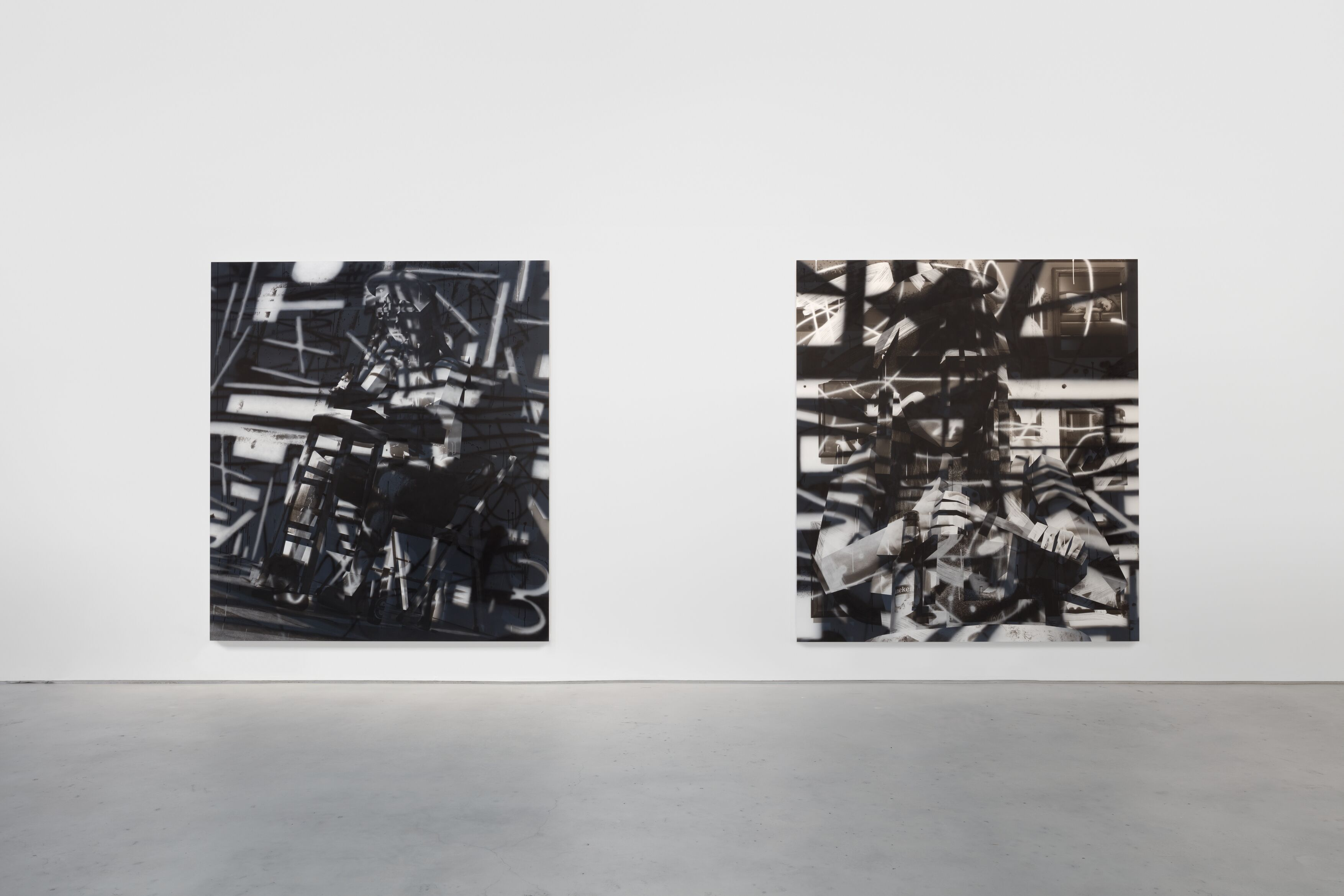 Installation view, 'Avery Singer. Reality Ender,' Hauser & Wirth New York, 22nd Street, 2021. Picturing: 'Studio,' 2019, Solomon R. Guggenheim Museum, New York, Purchased with funds contributed by Richard Weinberg, 2020; 'Sculptor,' 2021, © Avery Singer, courtesy the artist, Hauser & Wirth, and Kraupa-Tuskany Zeidler, Berlin Photo: Lance Brewer