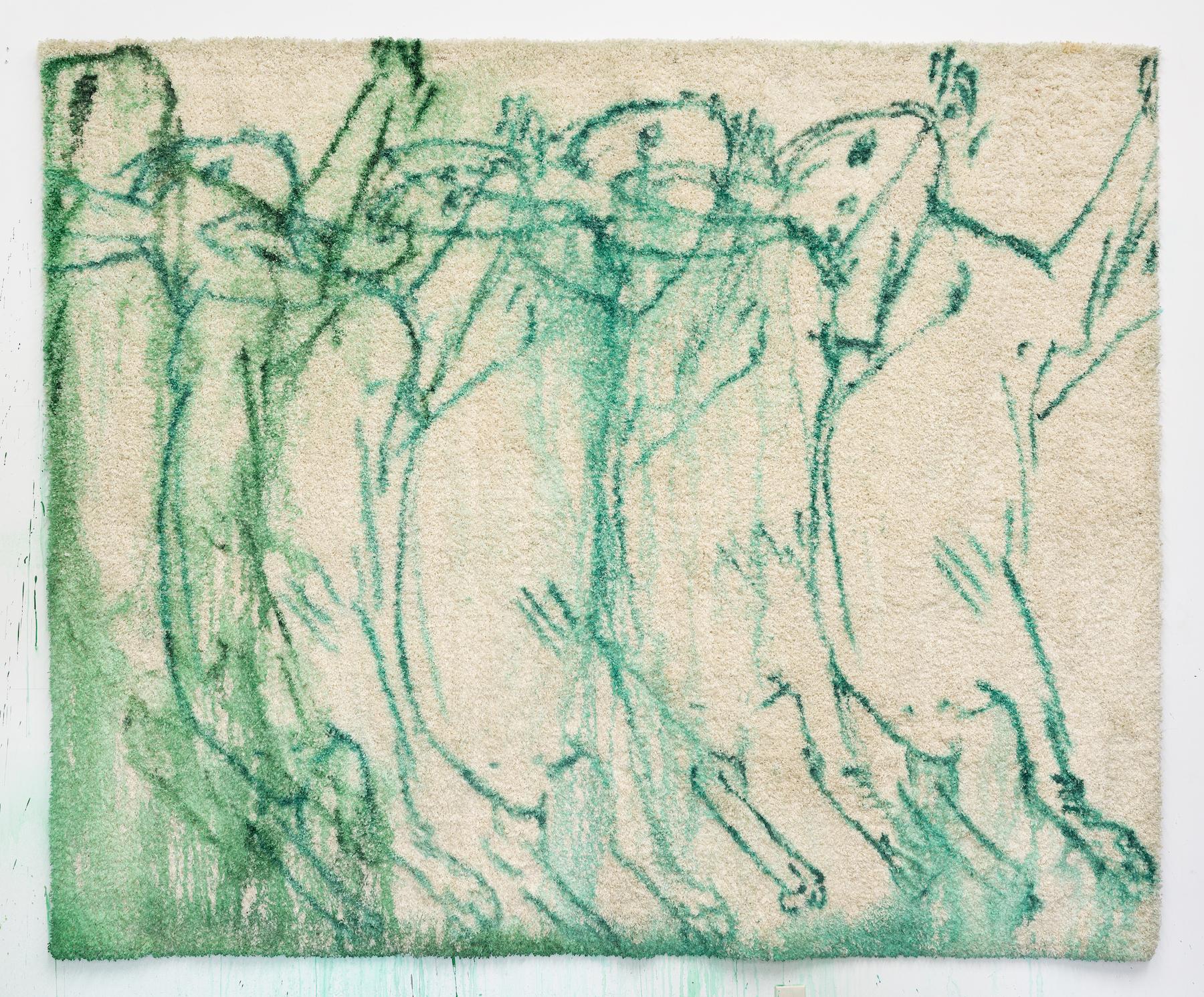 Brook Hsu 'Grasshopper', 2021, ink on carpet, 243.8 x 304.8 cm. Photo: Stephen Faught, Courtesy the artist; Kraupa - Tuskany Zeidler, Berlin